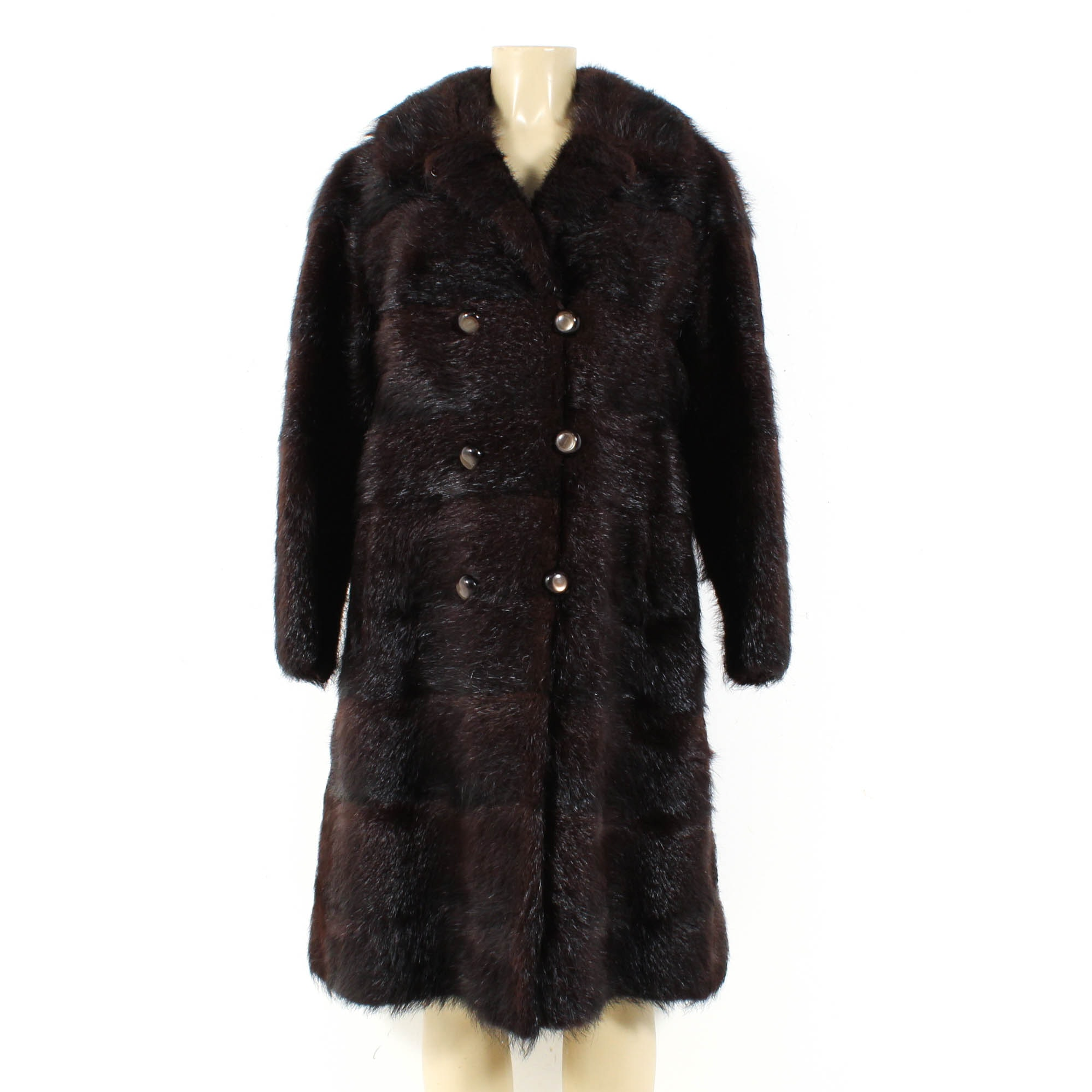 Vintage Dyed Nutria Fur Double-Breasted Coat