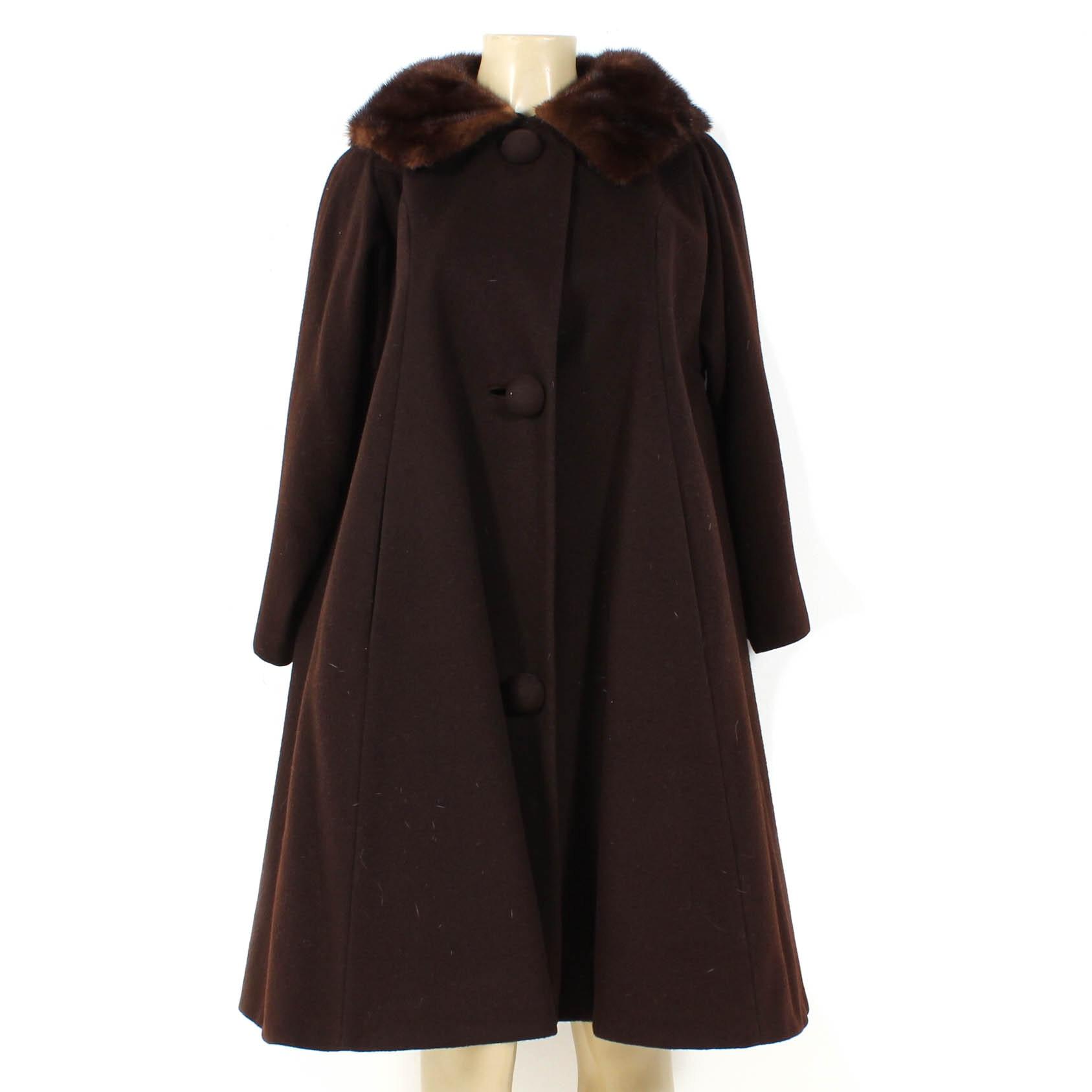 Vintage Brown Wool Swing Coat with Mahogany Mink Fur Collar