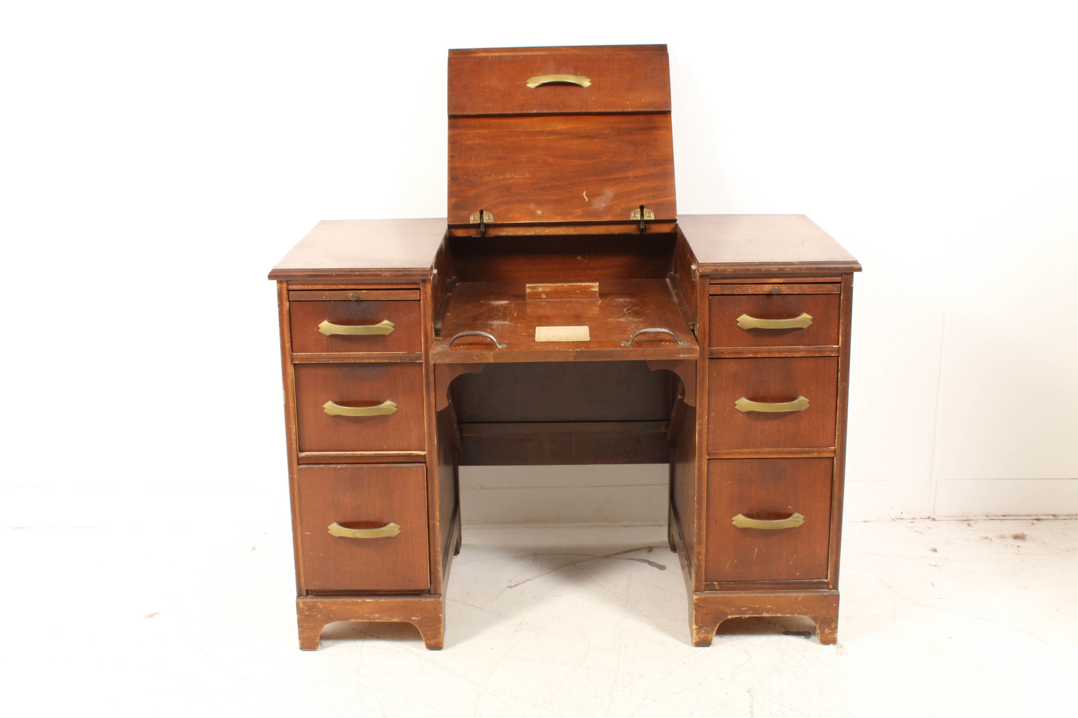 Walnut Veneer Typewriter Desk