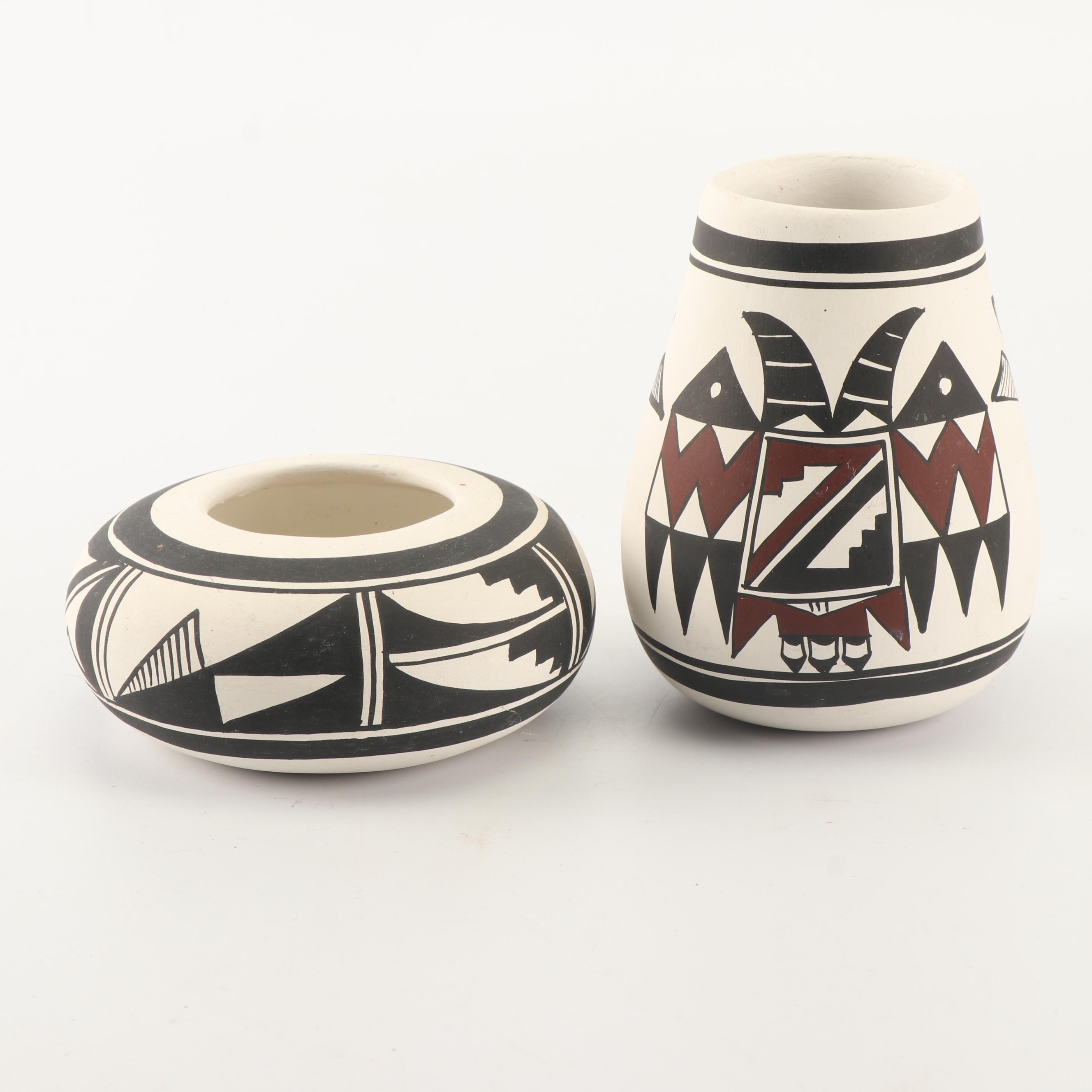 R. Galvan Mata Ortiz Style Polychrome Vase and Bowl