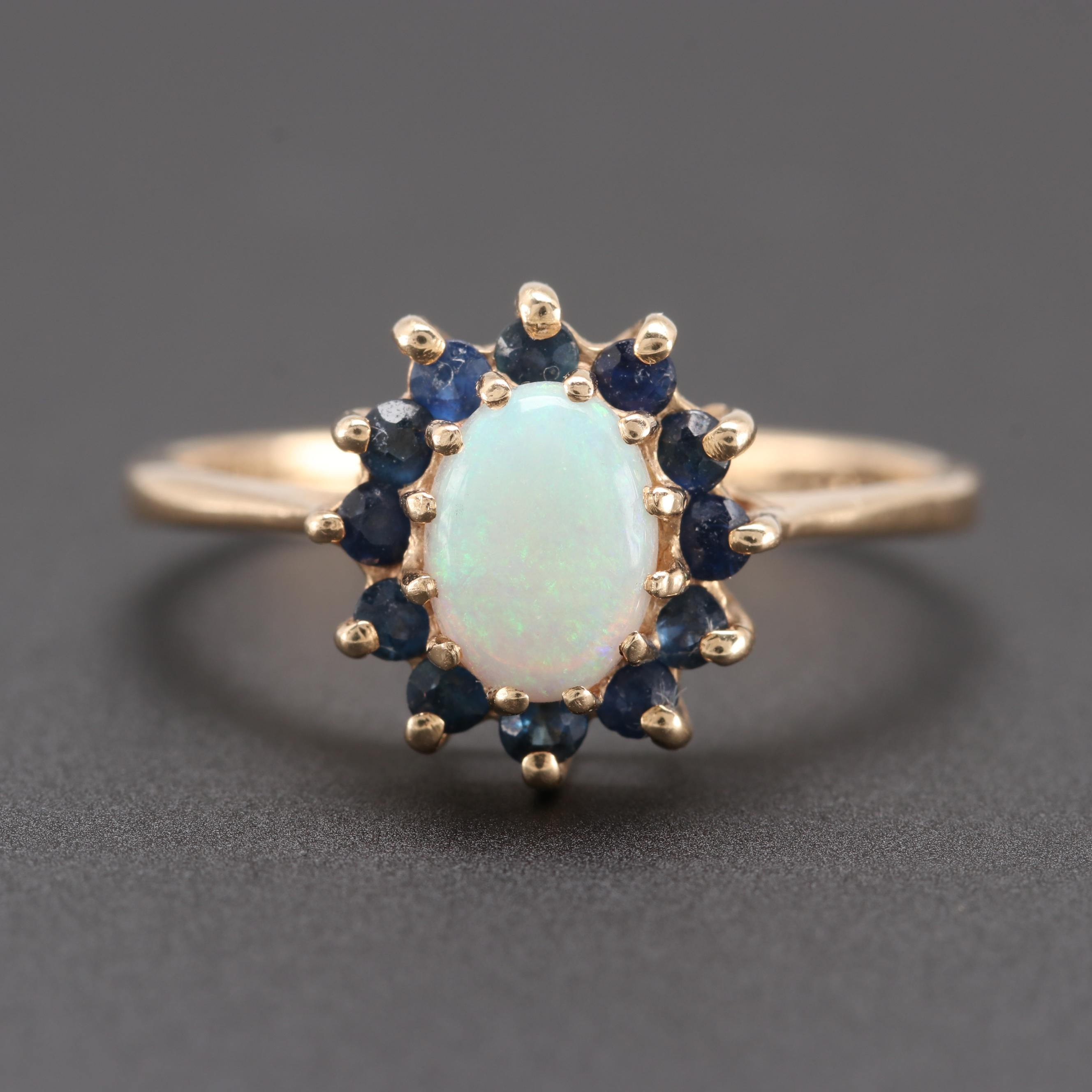 14K Yellow Gold Opal and Sapphire Ring