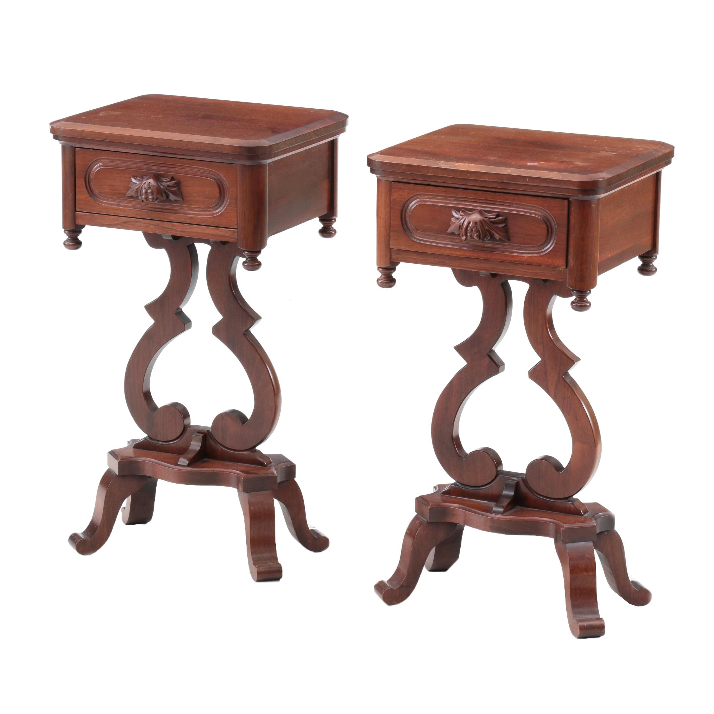 Victorian Style Accent Tables in Walnut