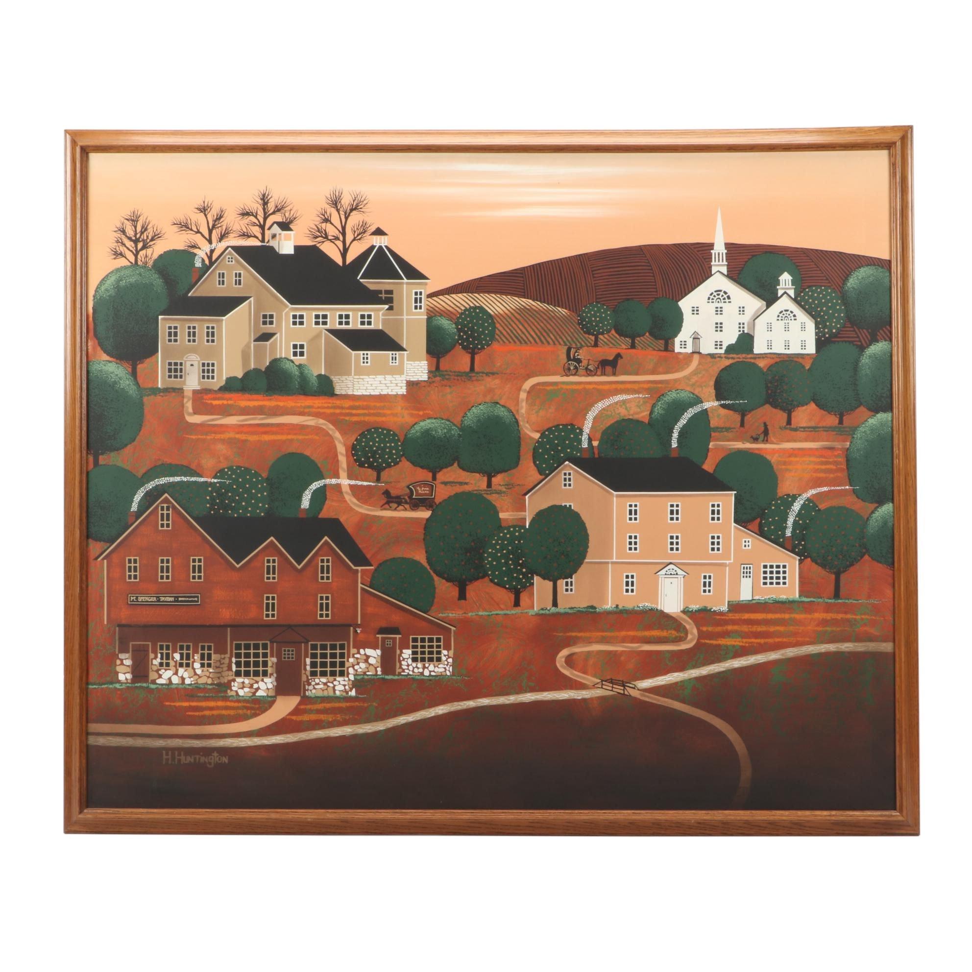 H. Huntington Folk Art Oil Painting