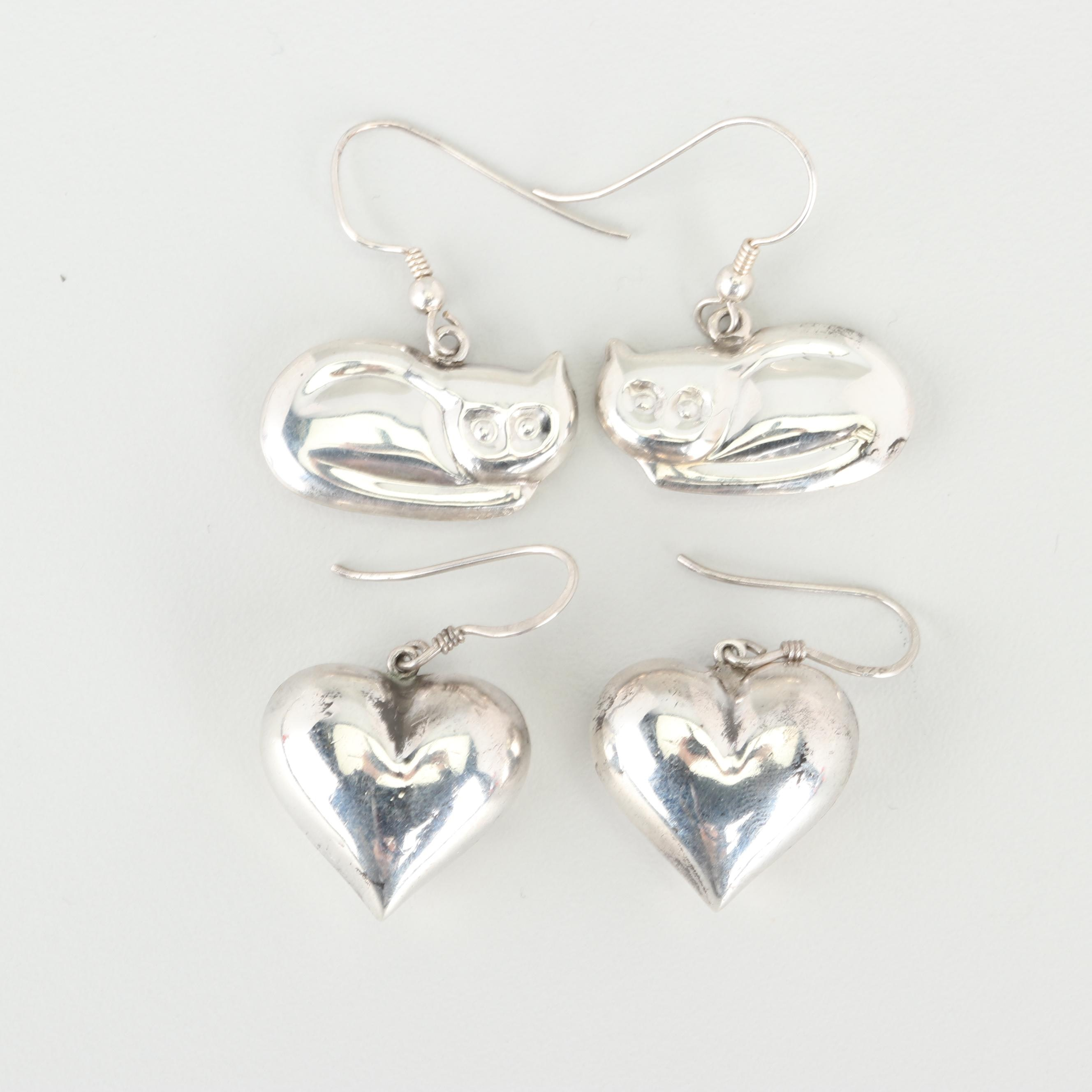 Sterling Silver Heart and Figural Cat Earrings