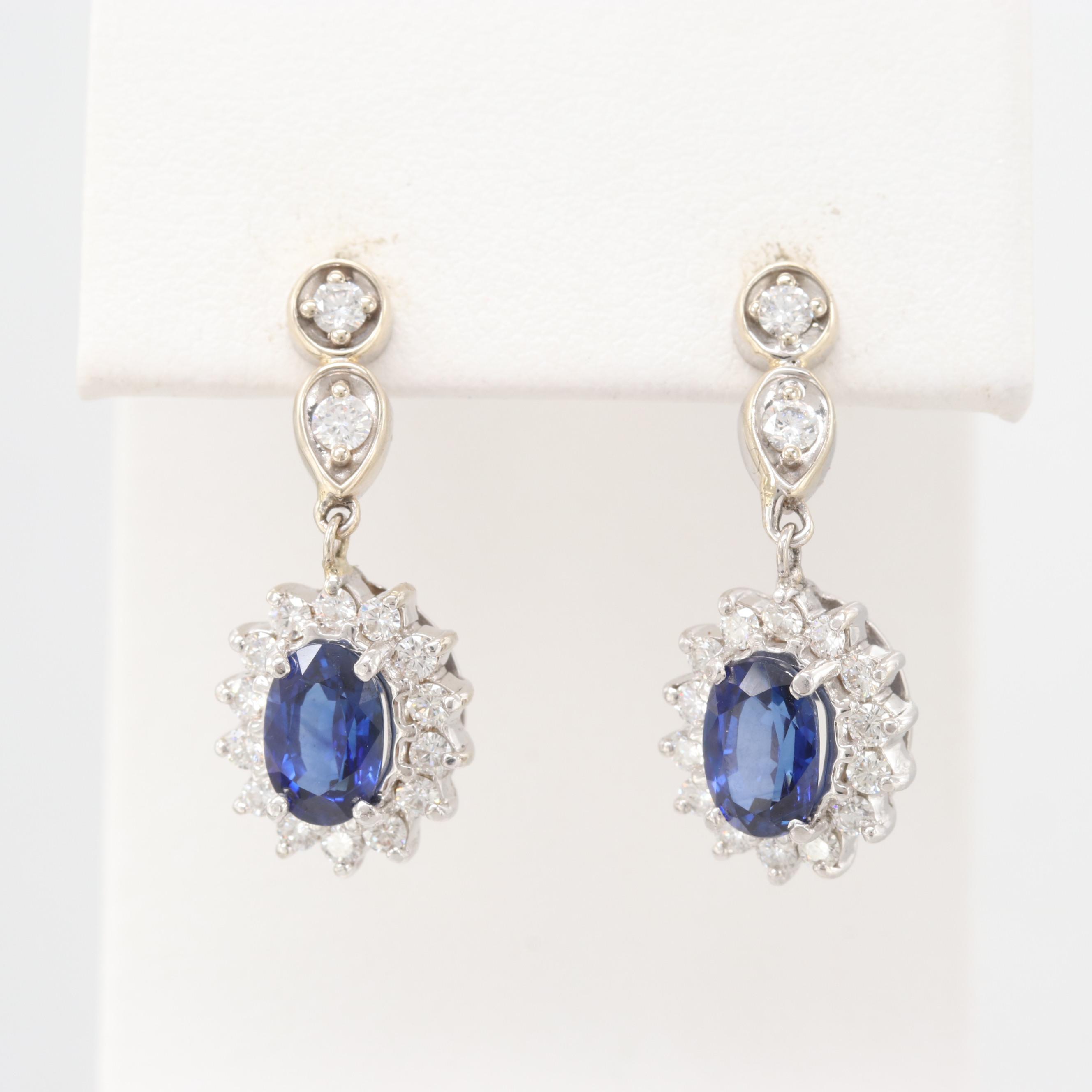 14K White Gold Blue Sapphire and Diamond Dangle Earrings