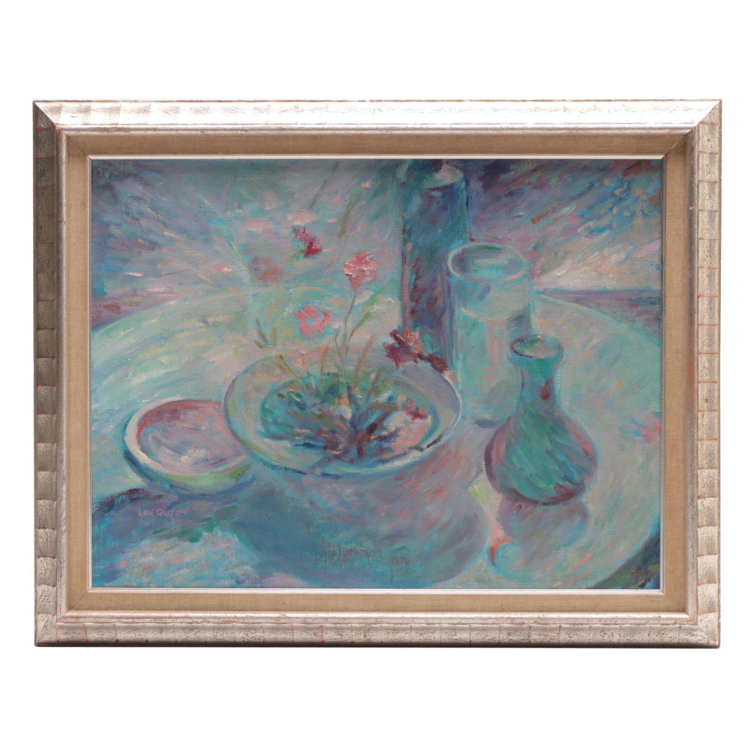 Len Gussow 1977 Oil Painting Still Life
