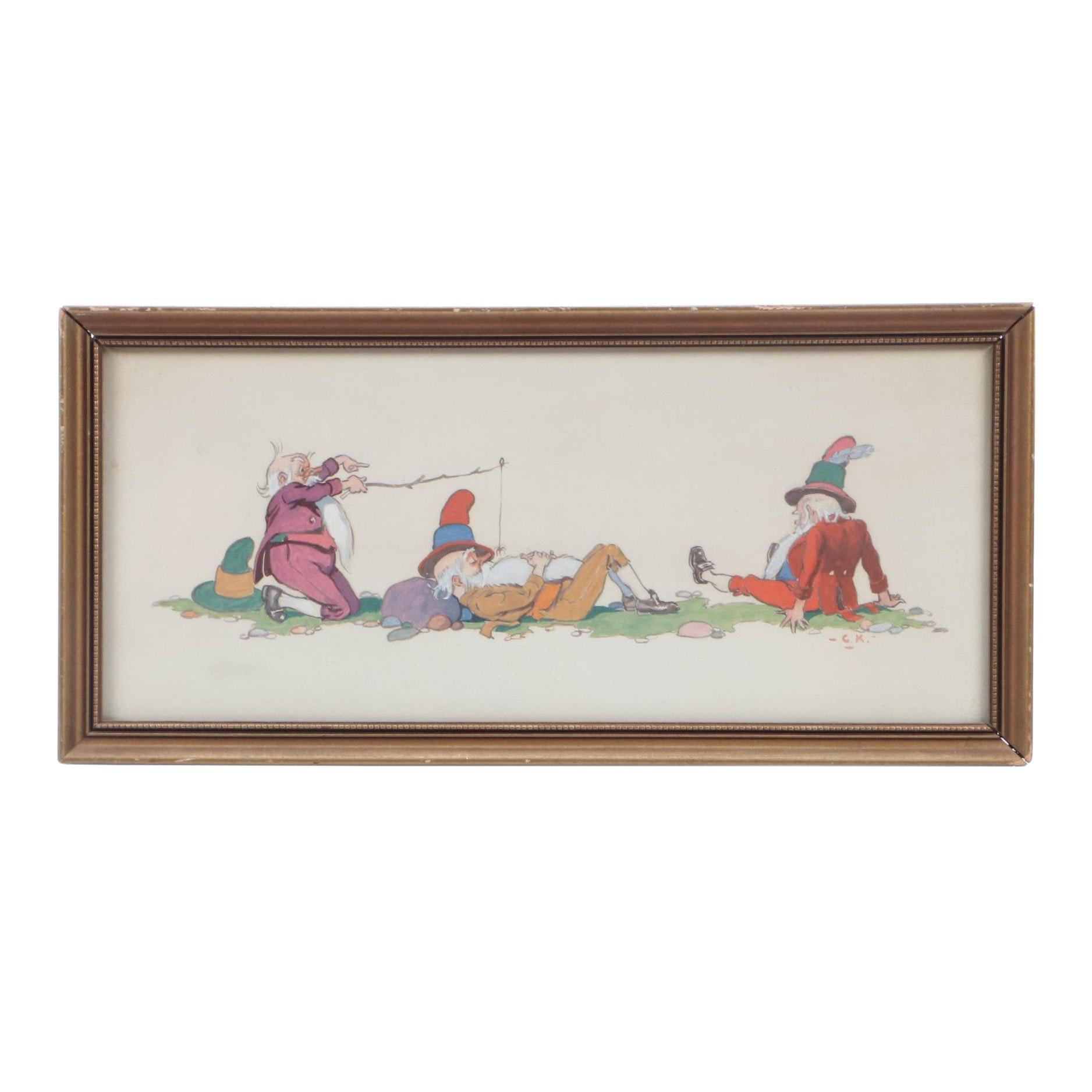Benjamin Kilvert Gouache Illustration of Three Elven Men