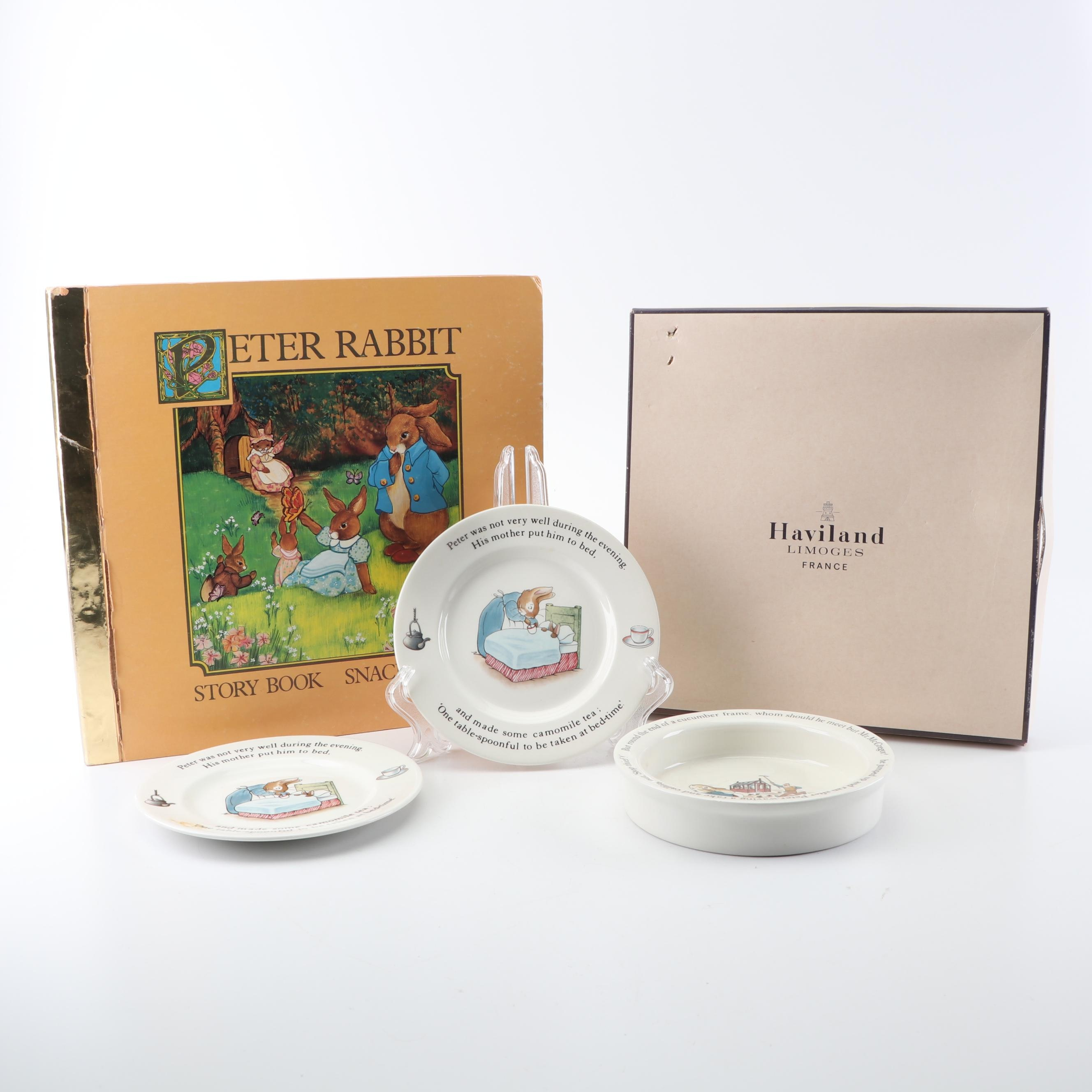 """Wedgwood """"Peter Rabbit"""" Children's Tableware with Story Book Snack Mats"""