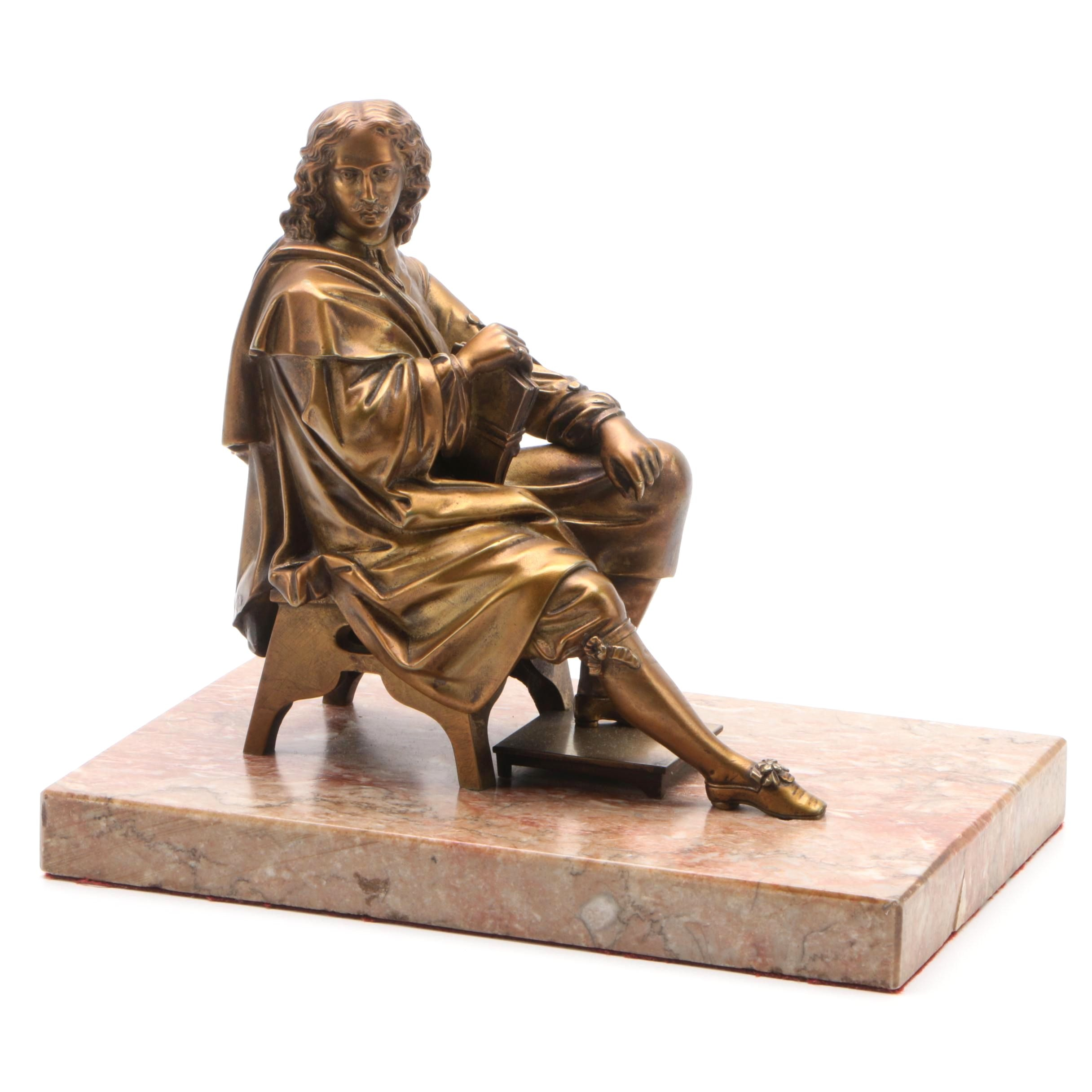 Brass Sculpture of 17th Century French Scholar on Marble Base