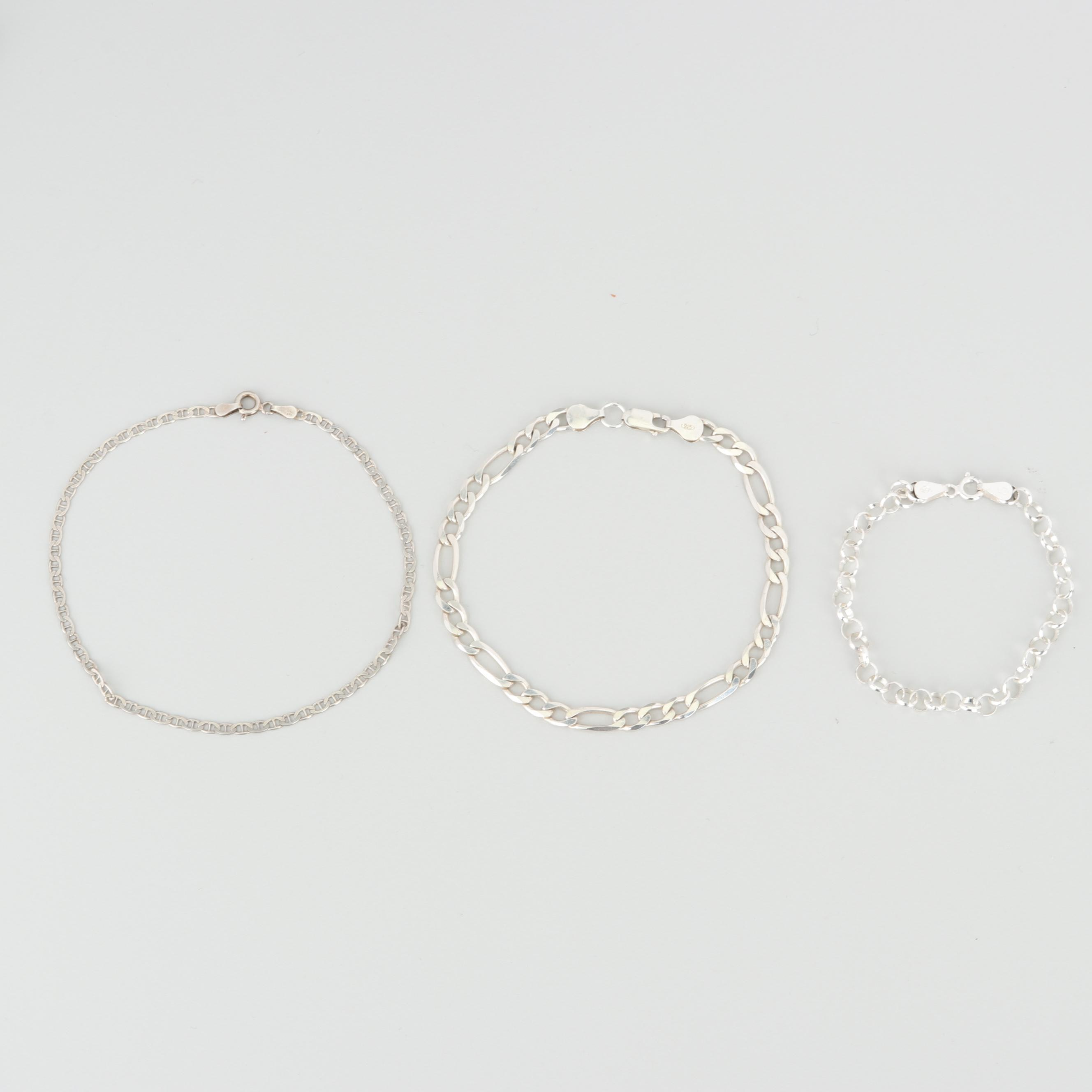 Sterling Silver Figaro, Gucci Link, and Round Link Chain Bracelets