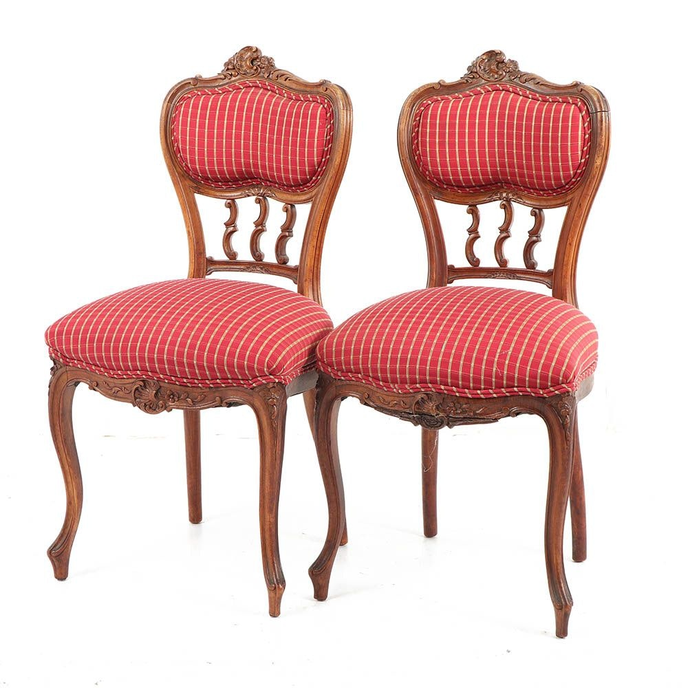 French Provincial Style Upholstered Side Chairs, Mid/Late 20th Century