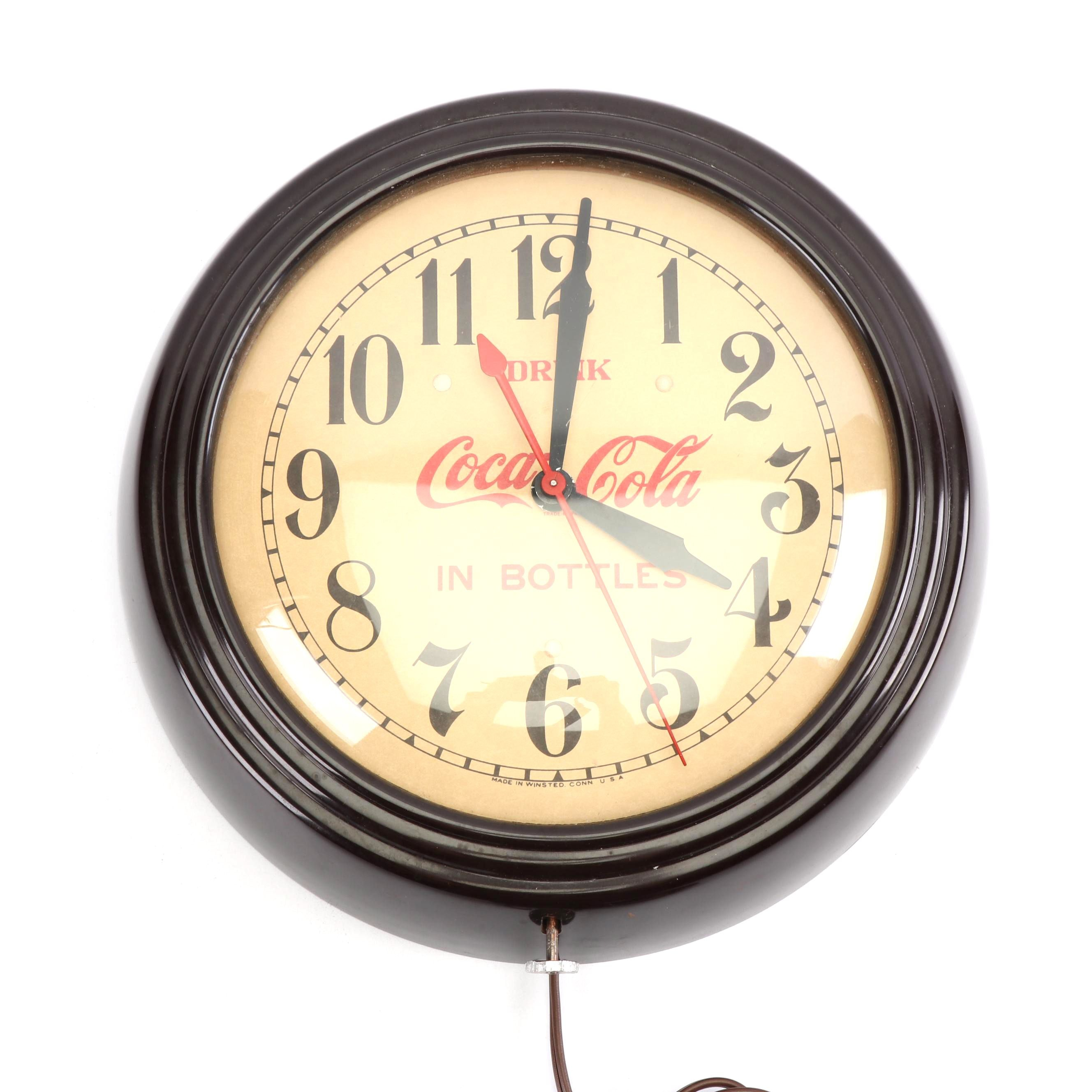 "General Electric Telechron ""Coca-Cola"" Electric Wall Clock"