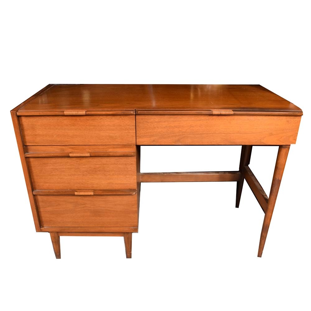 Mid-Century Teak Finish Kneehole Desk