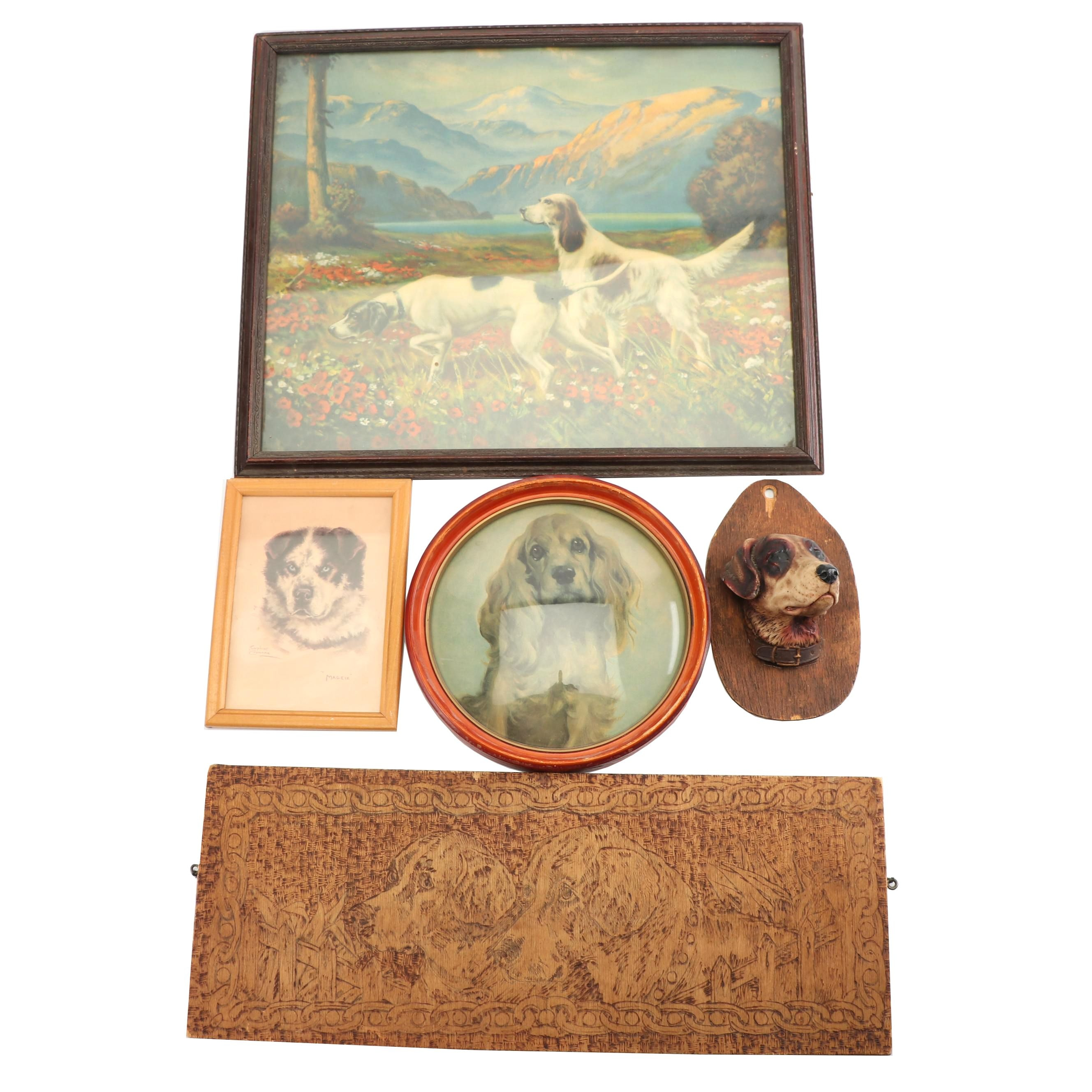 Flemish Art Company Pyrographic Wall Hanging with Offset Lithographs and More