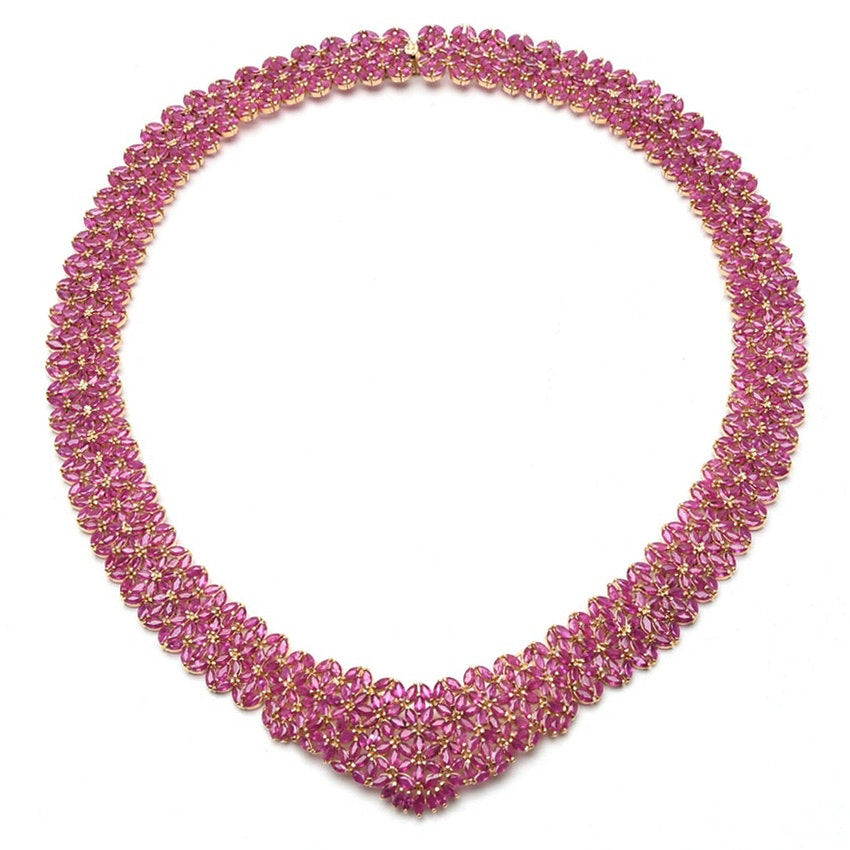14K Yellow Gold 70.00 CTW Ruby Collar Necklace