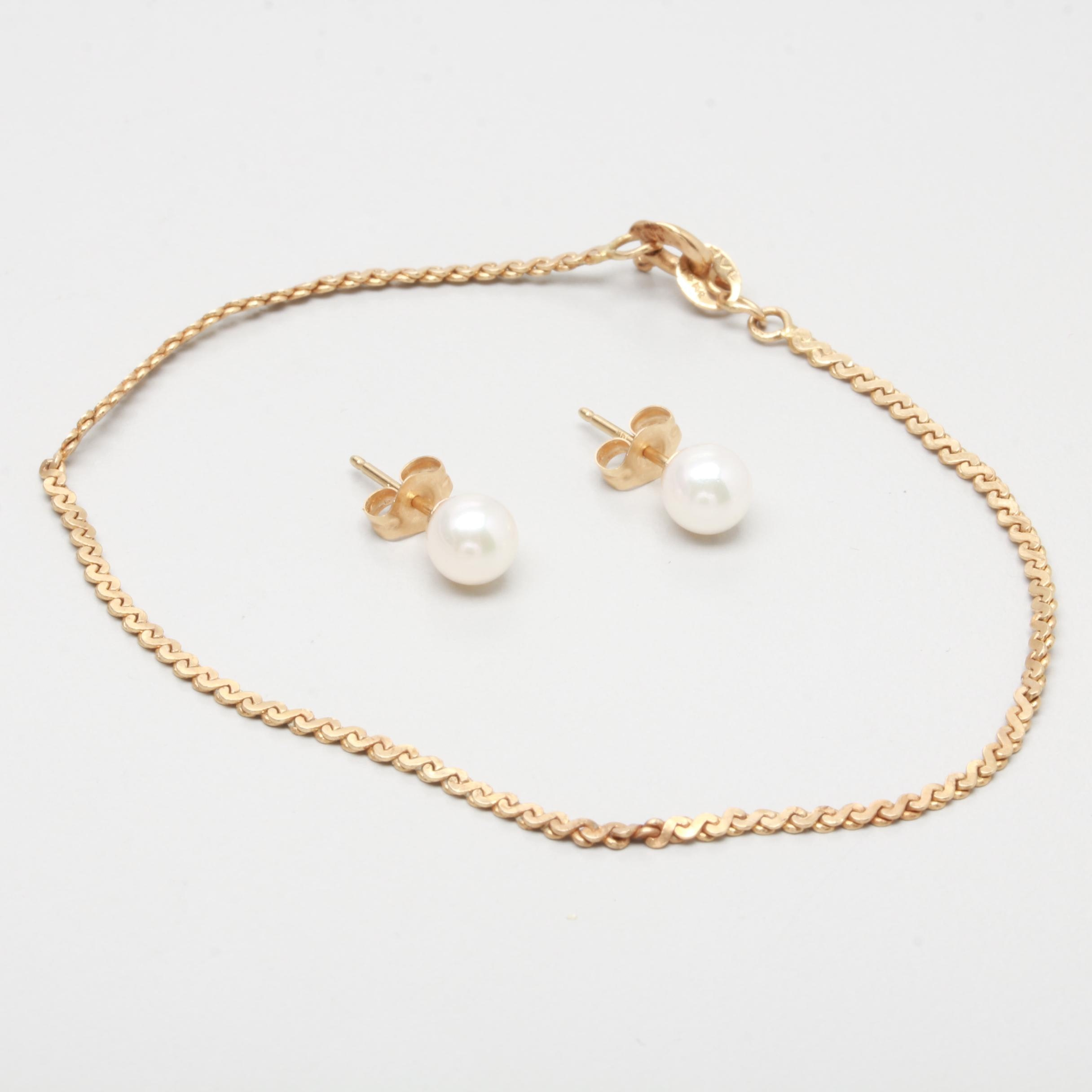 14K Yellow Gold Bracelet with Cultured Pearl Earrings