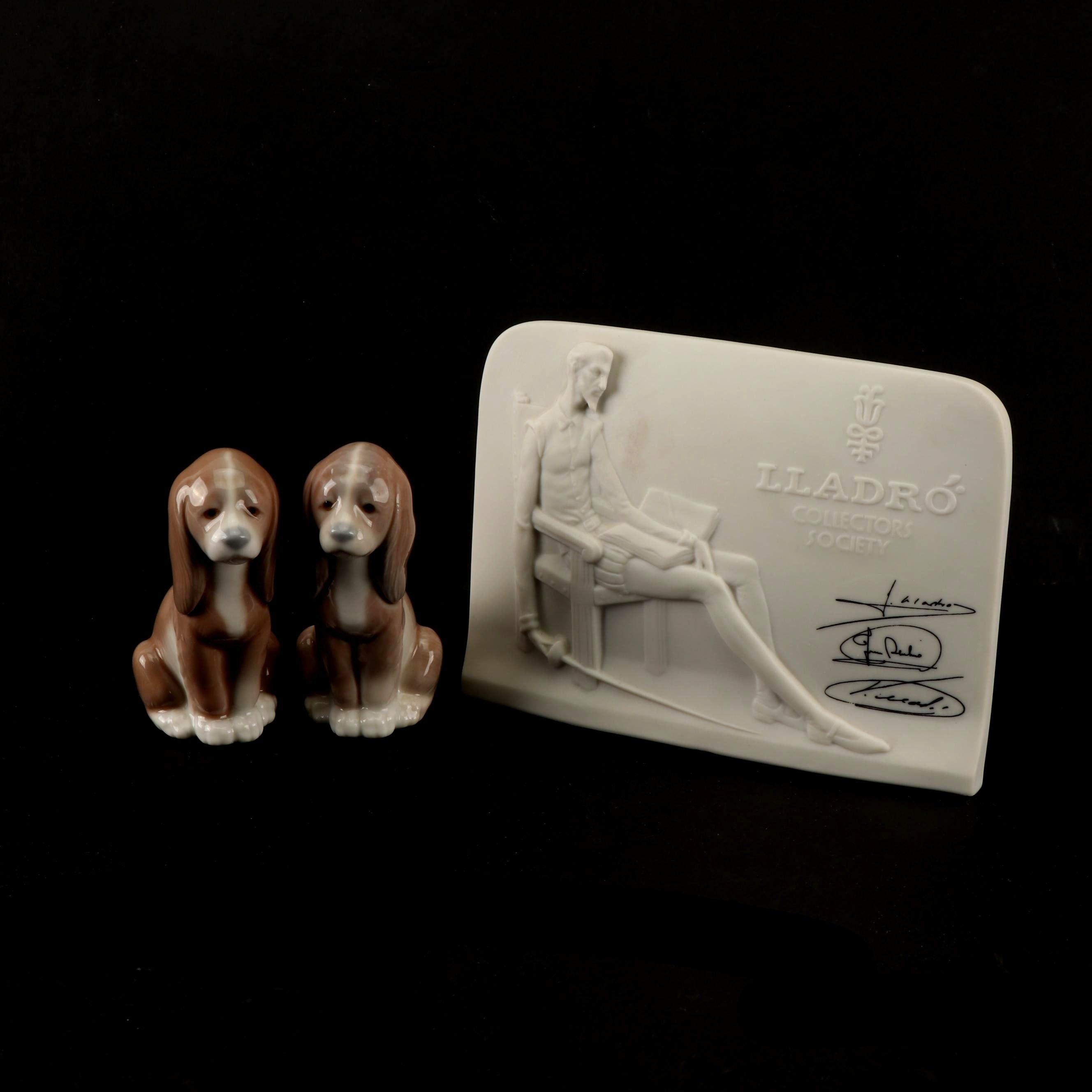 "Lladró ""Good Puppy"" Figurines with Don Quixote Plaque"