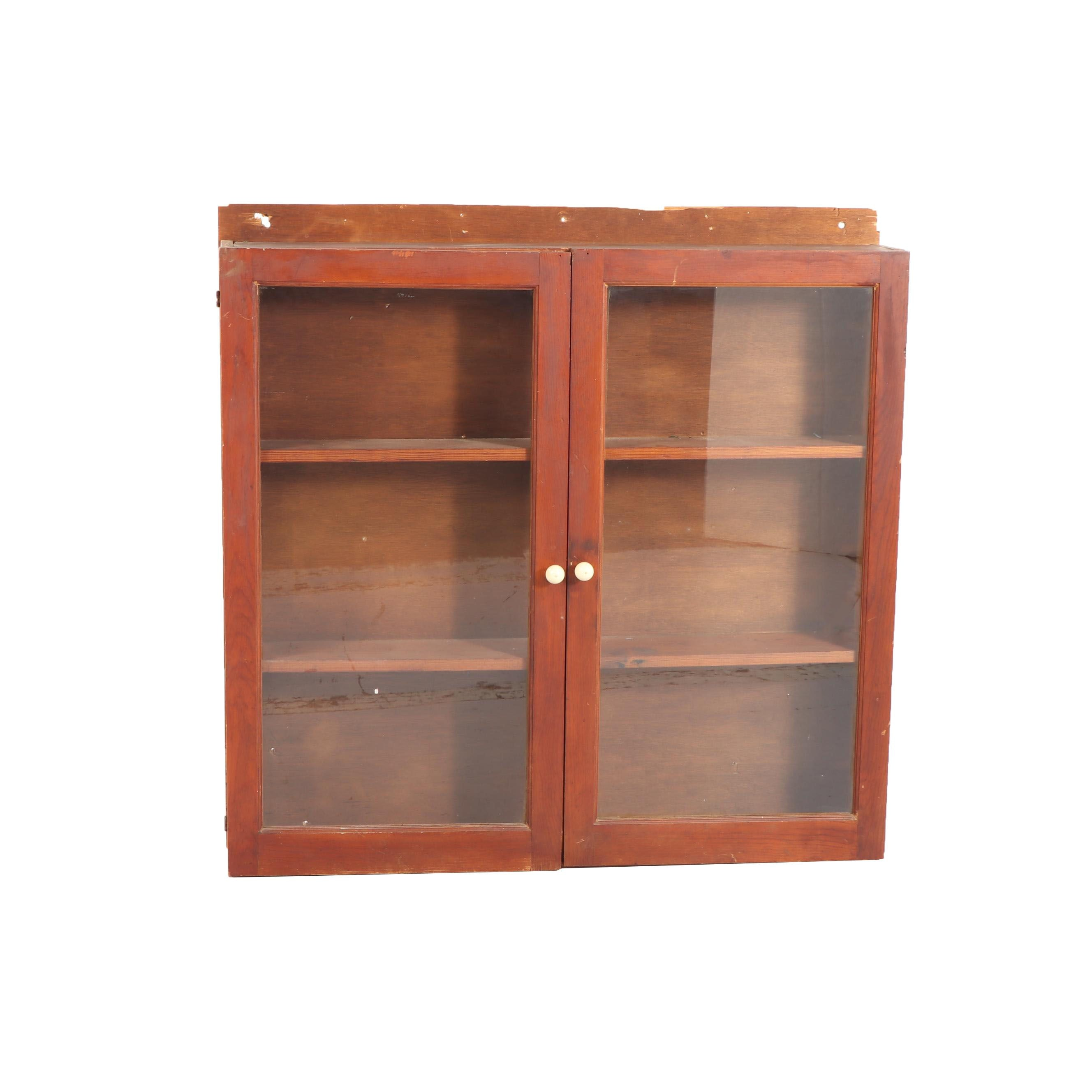 Mixed Wood Wall Mount Cabinet, Mid 20th Century