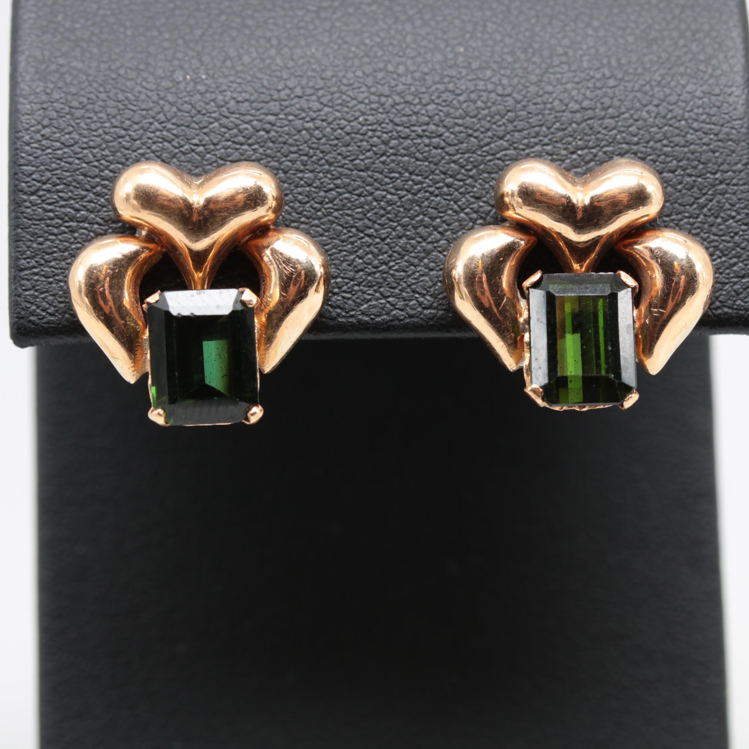 18K Yellow Gold Green Tourmaline Threaded Back Earrings