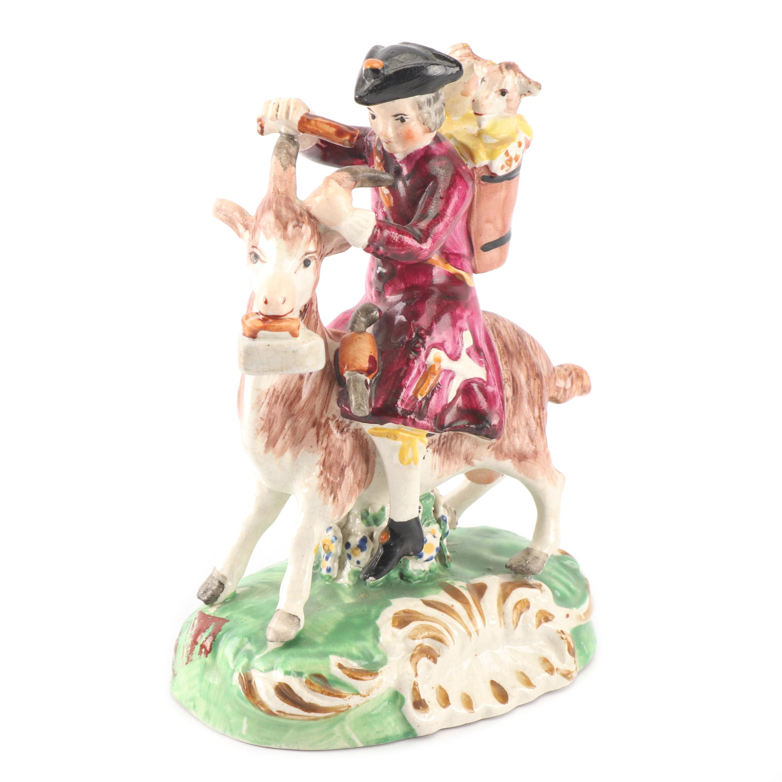 "Staffordshire Hand-Painted ""The Welch Tailor"" Figurine, 19th Century"
