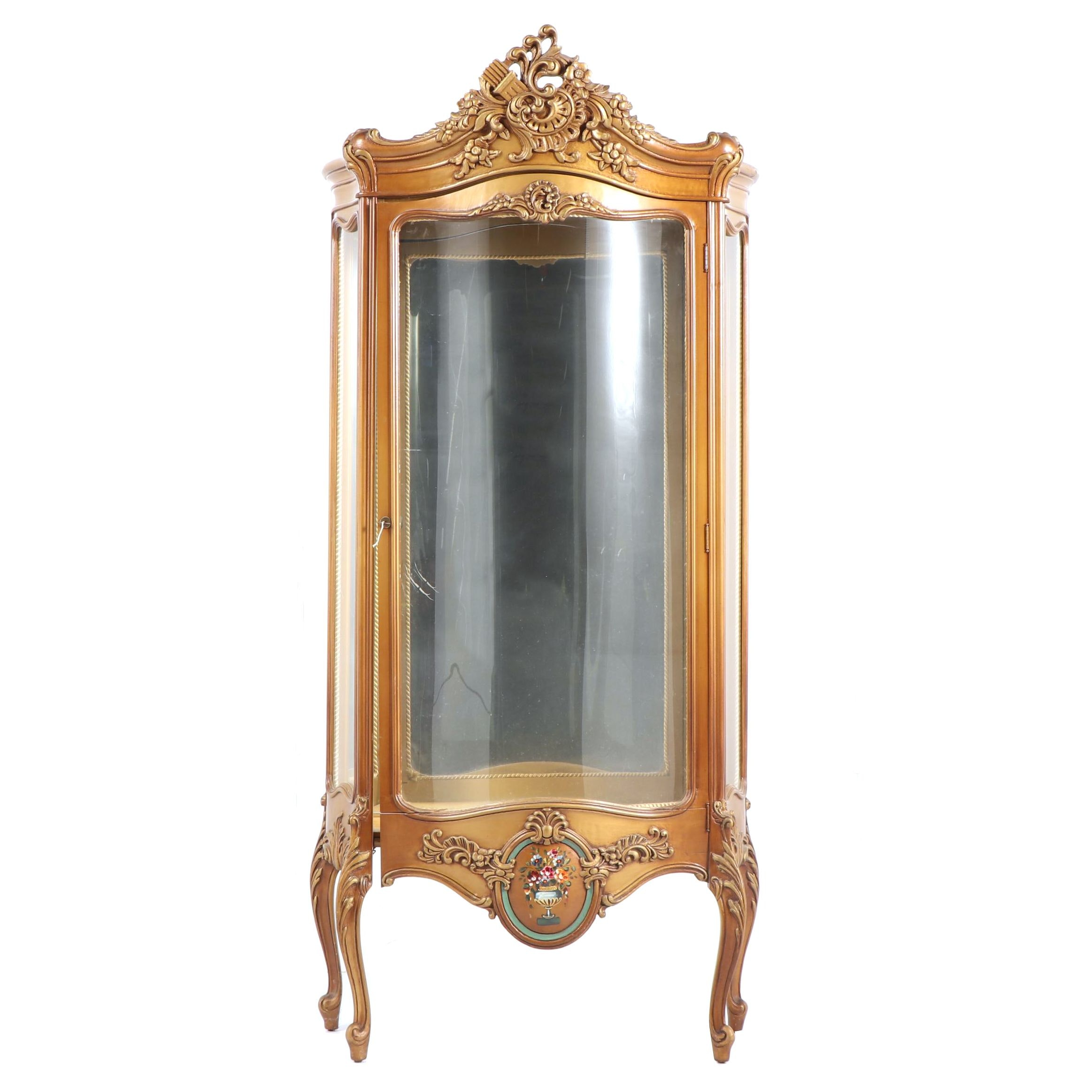 Louis XV Style Painted Wood Illuminated Curio Cabinet, Early/Mid 20th Century