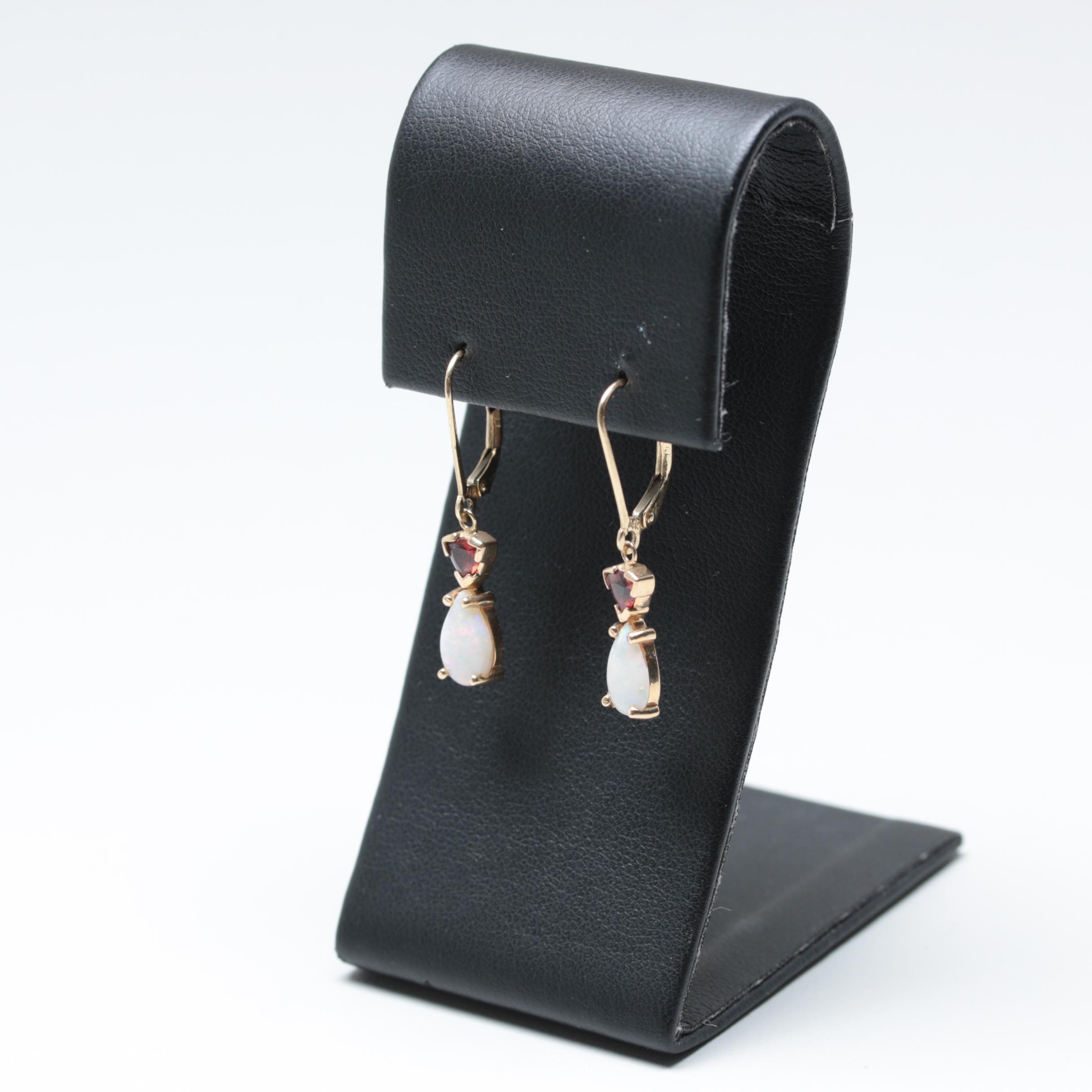 14K Yellow Gold Opal and Garnet Dangle Leverback Earrings