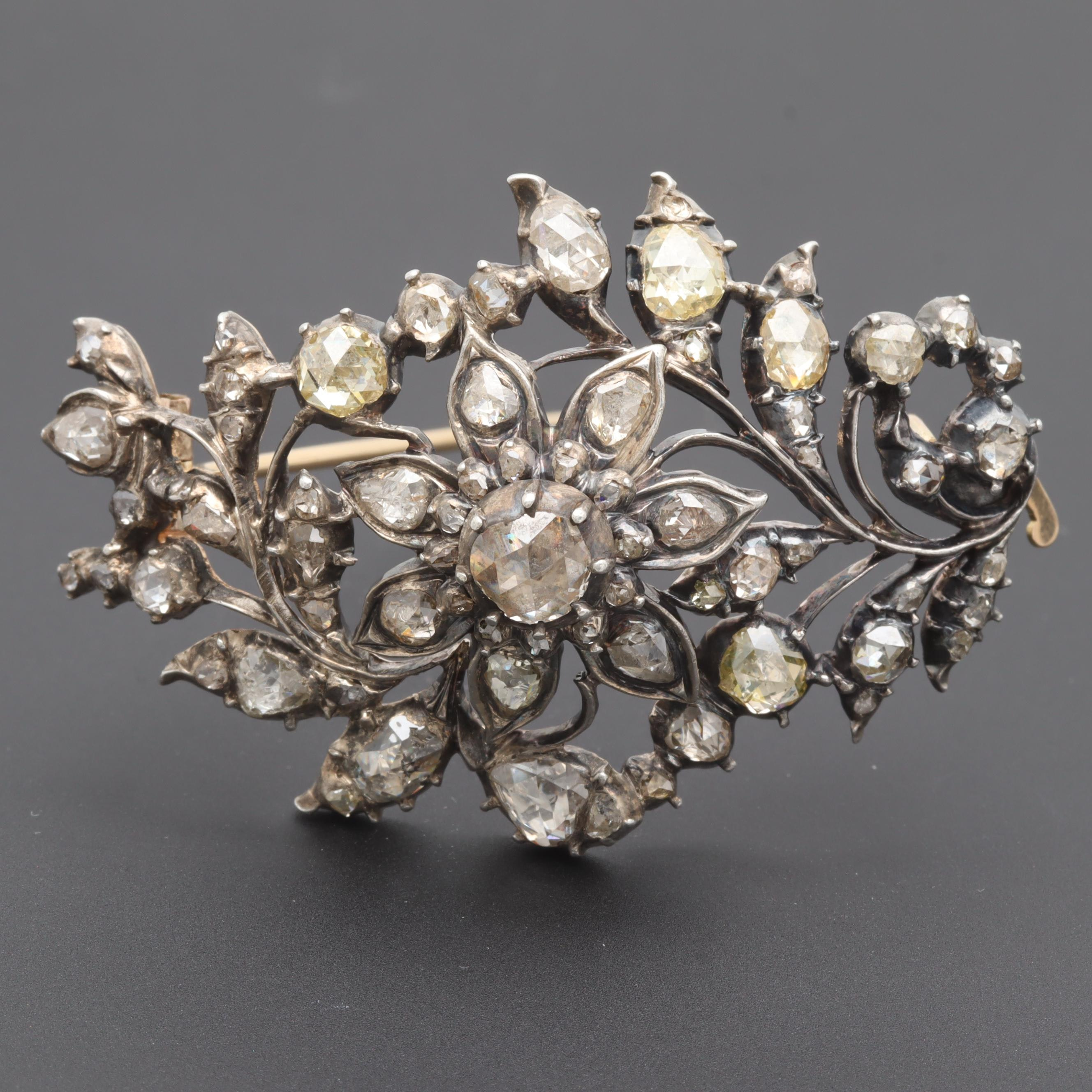 Late Georgian Sterling Silver Diamond Brooch with 14K Gold Back