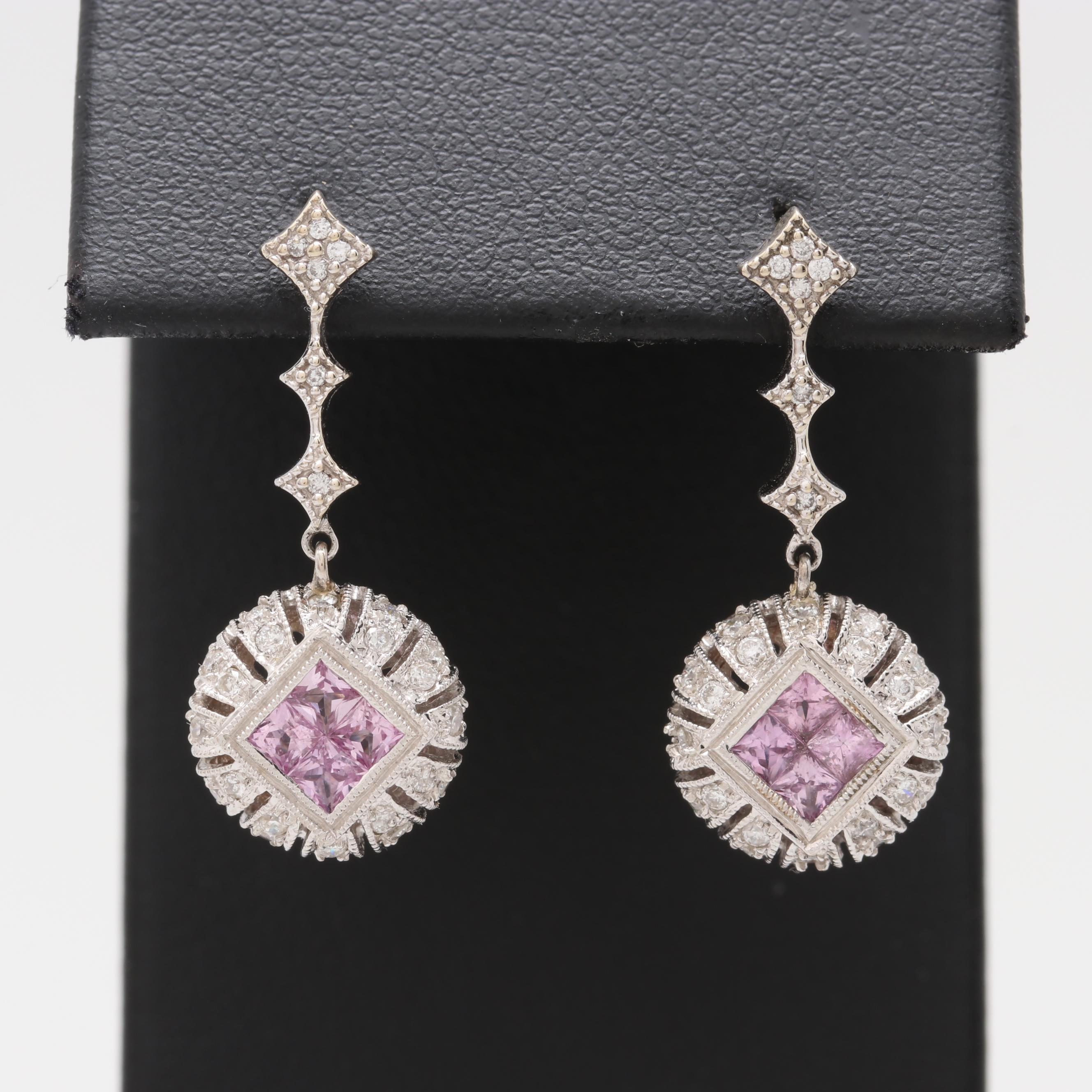 14K and 18K White Gold Diamond and Pink Sapphire Earrings