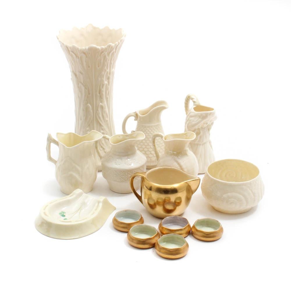 Vintage Belleek and Lenox Porcelain and Bone China Creamers, Tableware and Vase
