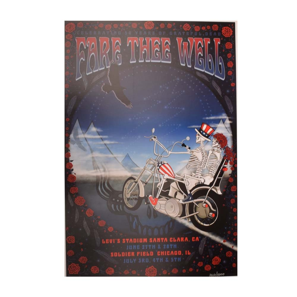"Ltd. Ed. ""Fare Thee Well"" Grateful Dead Santa Clara, Chicago Concert Poster"
