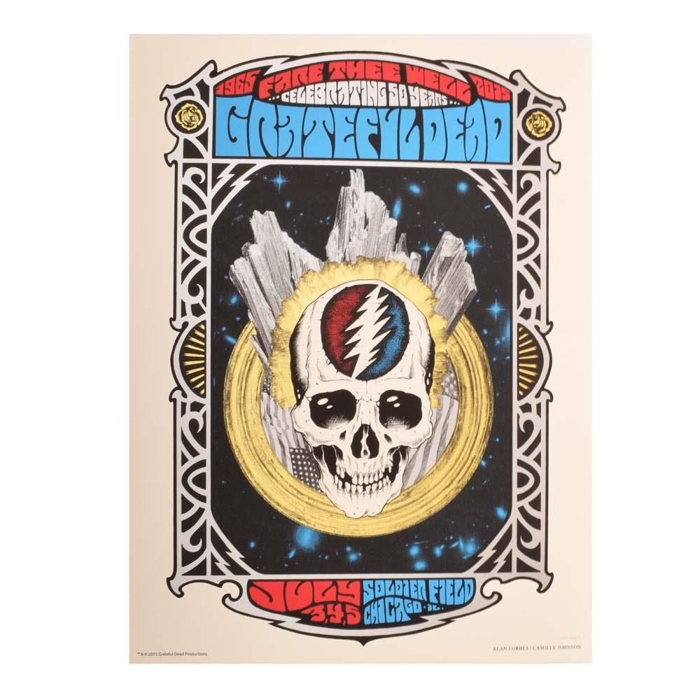 "Ltd. Ed. 2015 Serigraph ""Fare Thee Well"" Grateful Dead Chicago Concert Poster"