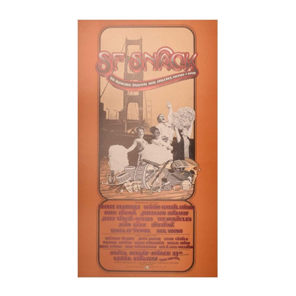 Vintage 1975 San Francisco SNACK Concert Poster Featuring Doobies, Jerry Garcia