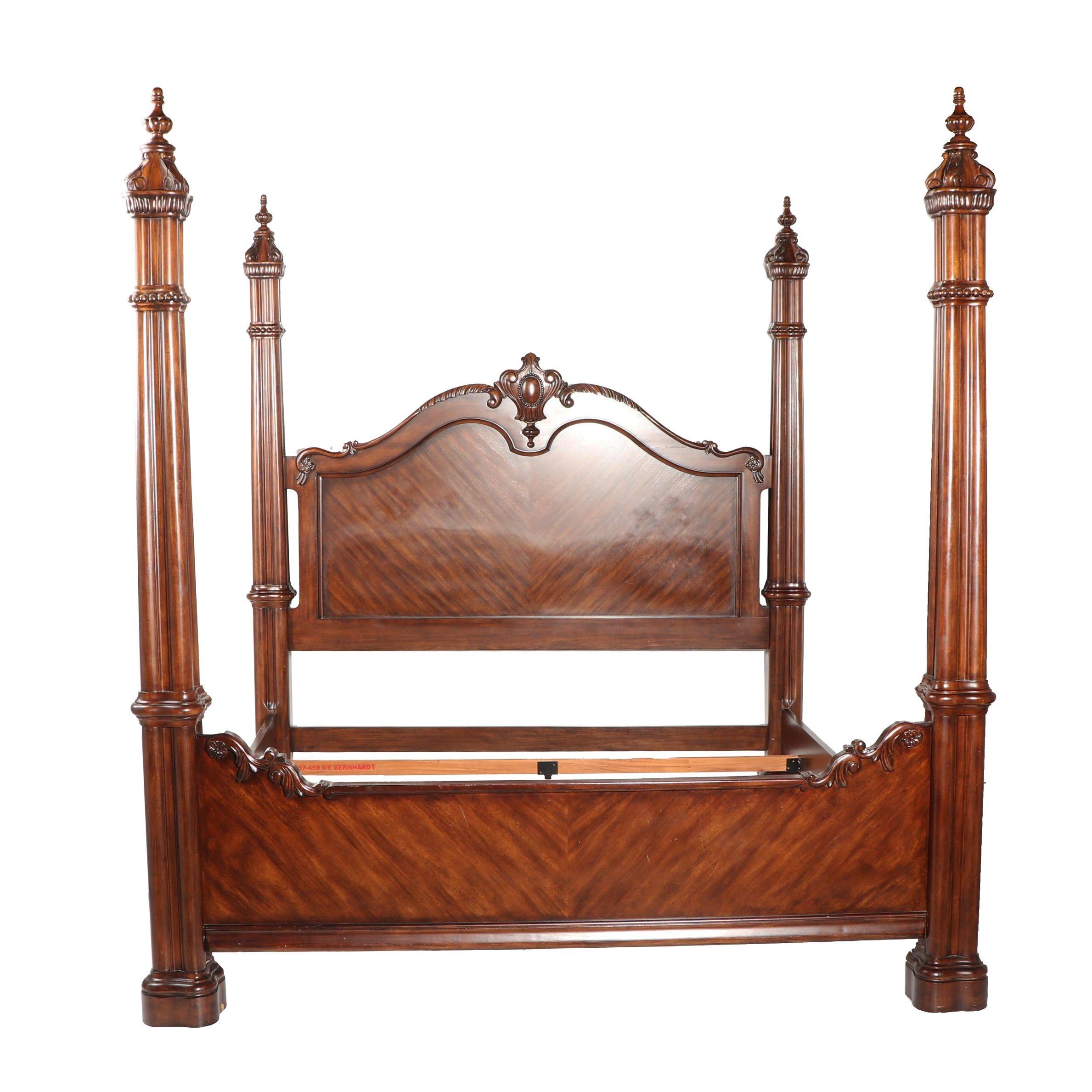 Renaissance Revival Style Mahogany King Size Bed Frame, 21st Century