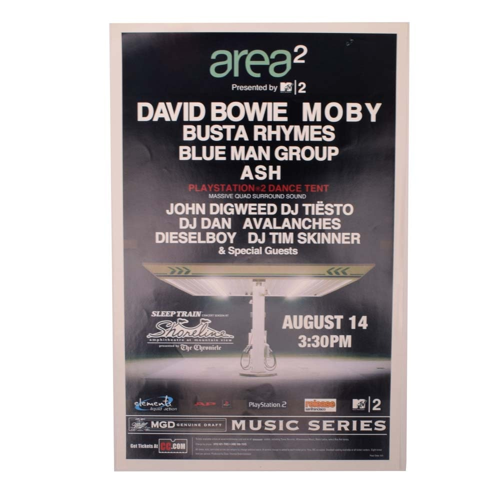 2001 area2 Concert Poster Featuring David Bowie, Moby and More