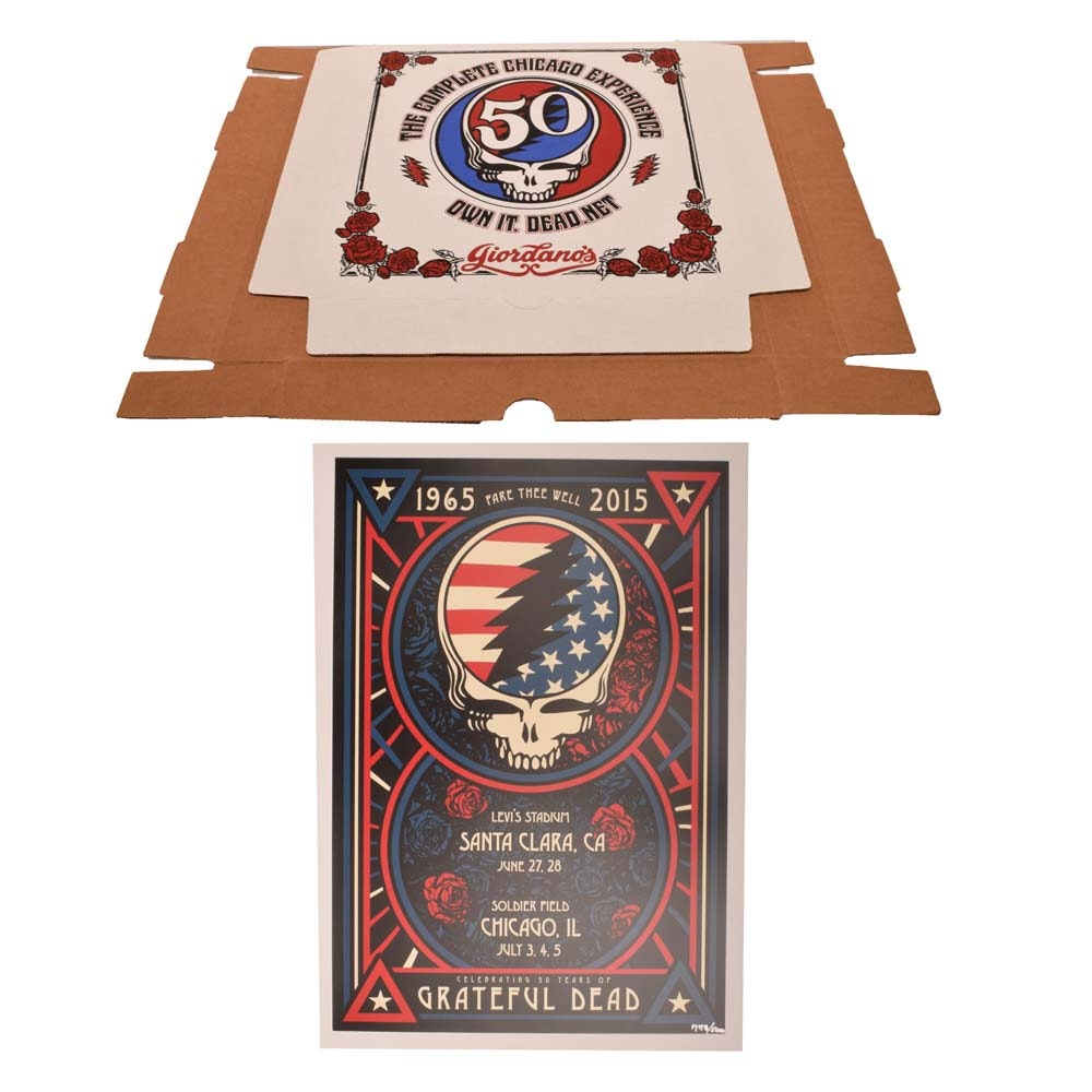 "Ltd. Ed. 2015 ""Fare Thee Well"" Grateful Dead Chicago Concert Poster, Pizza Box"