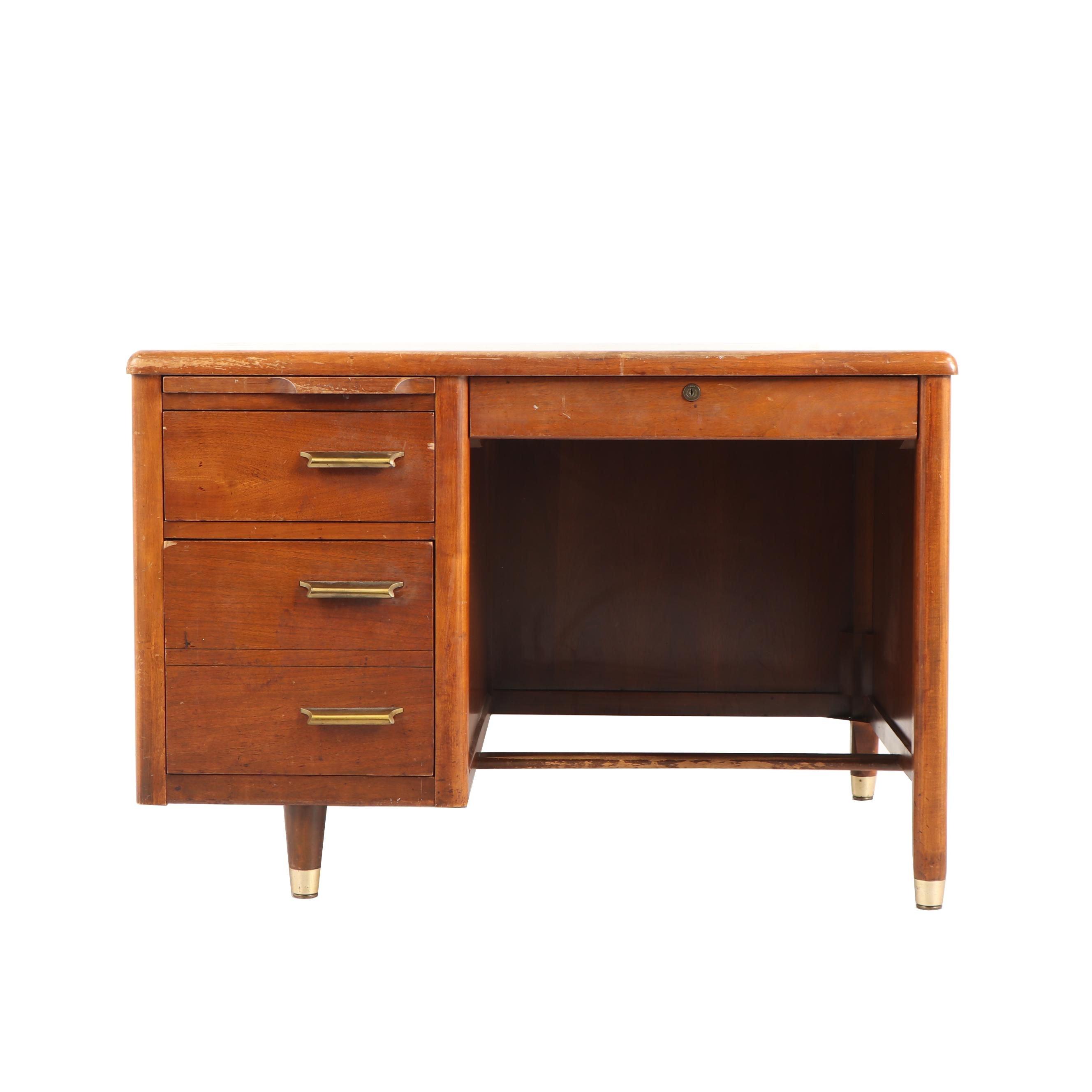 Mid Century Modern Walnut Desk by Jasper Office Furniture Company