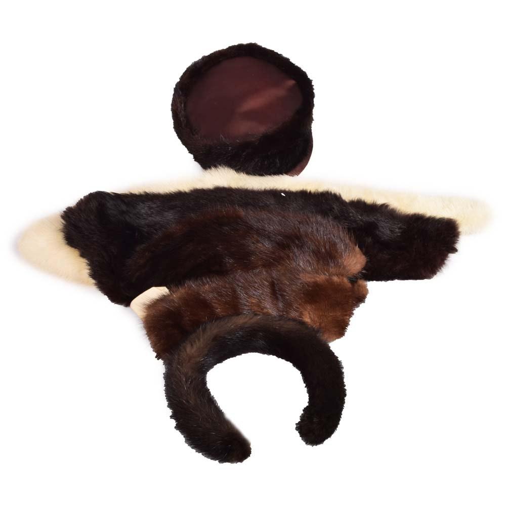 Mink and Artic Fox Fur Collars, Hat, Headband