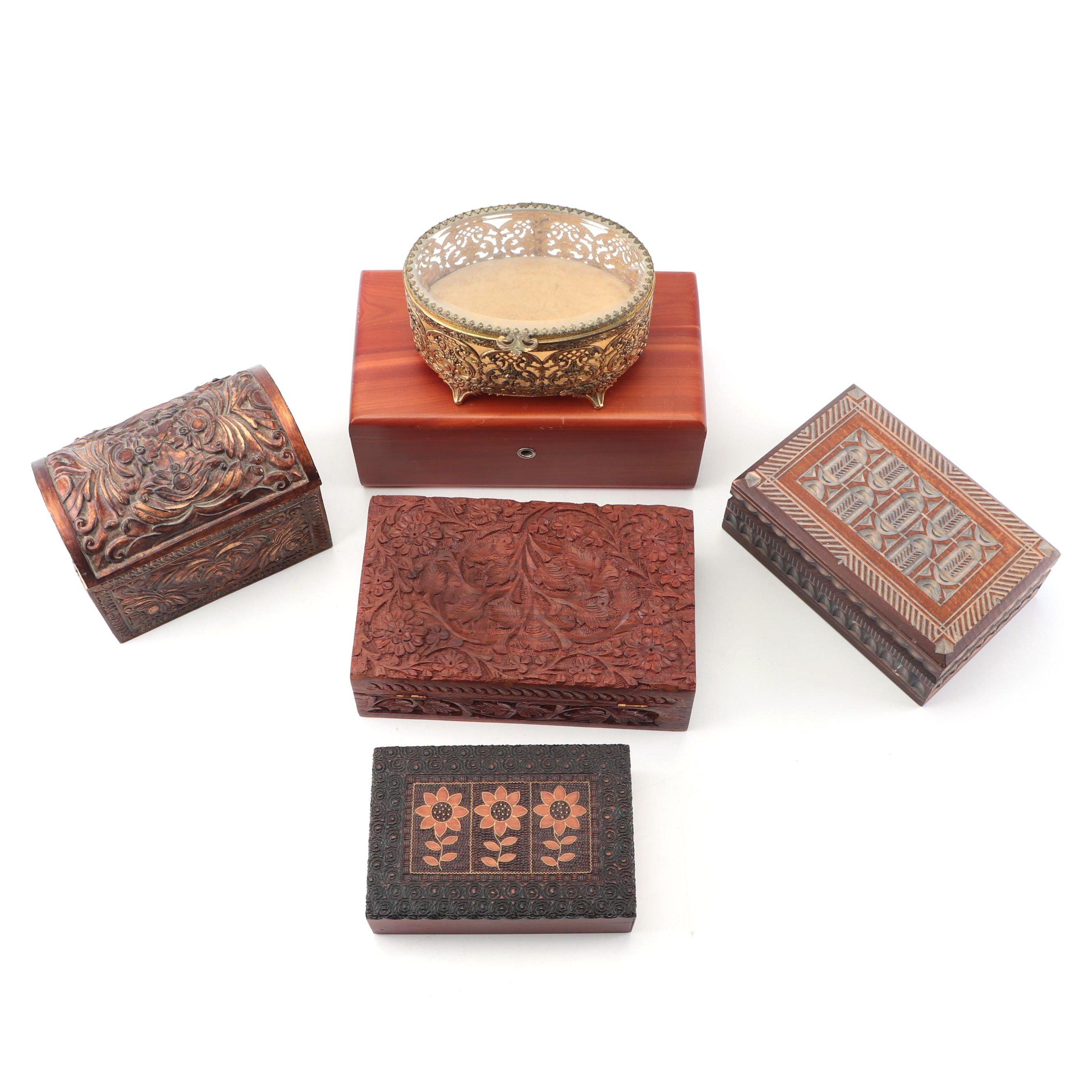 Trinket Boxes Including Lane Miniature Cedar Chest