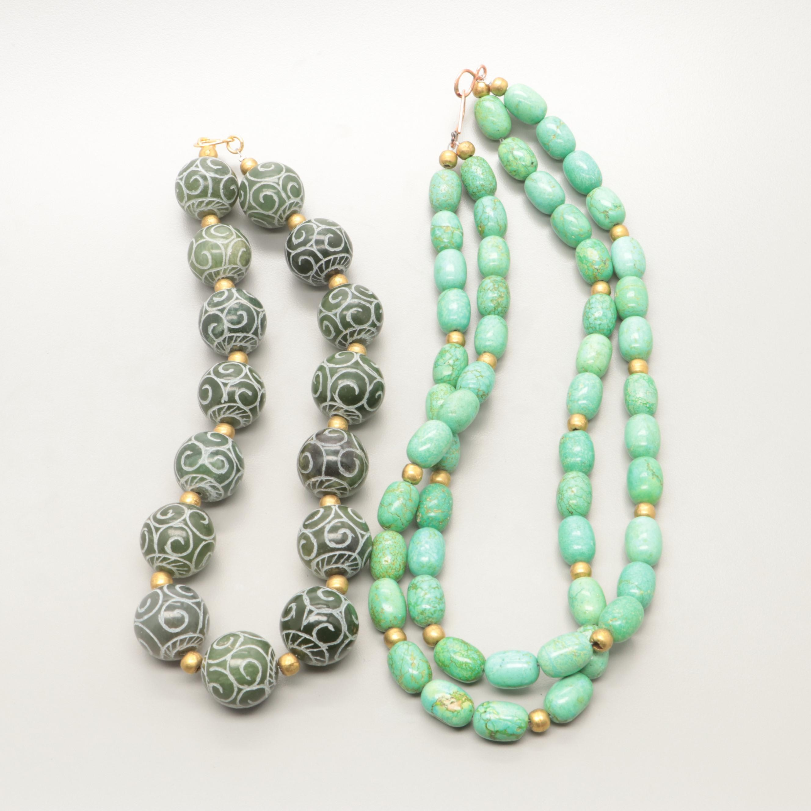 Designed Dyed Magnesite and Calcite Barrel Bead Necklaces