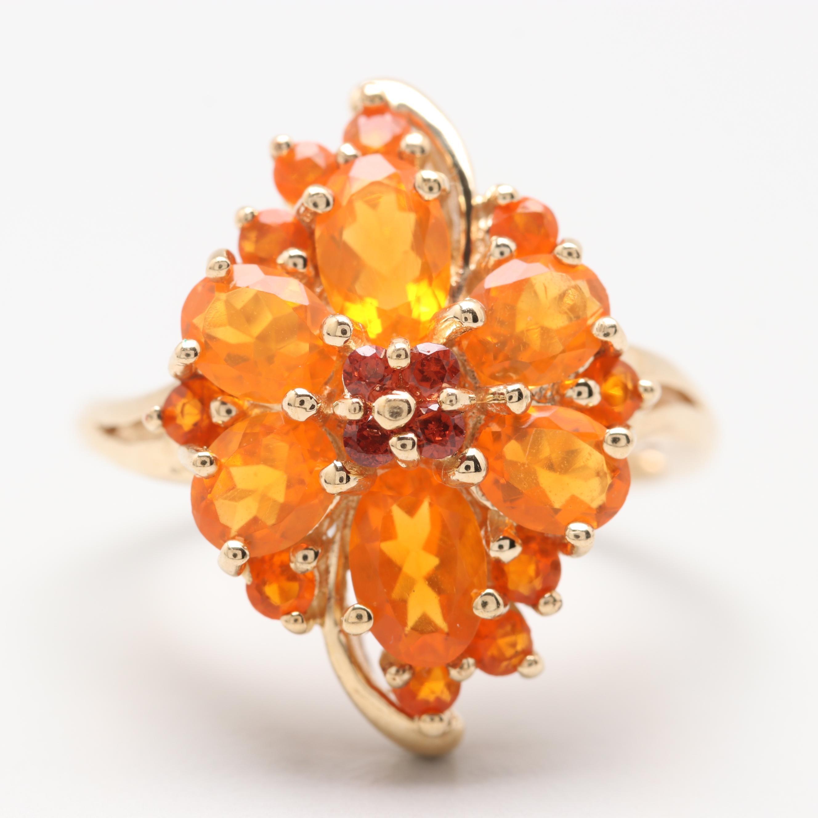 10K Yellow Gold Garnet and Fire Opal Ring