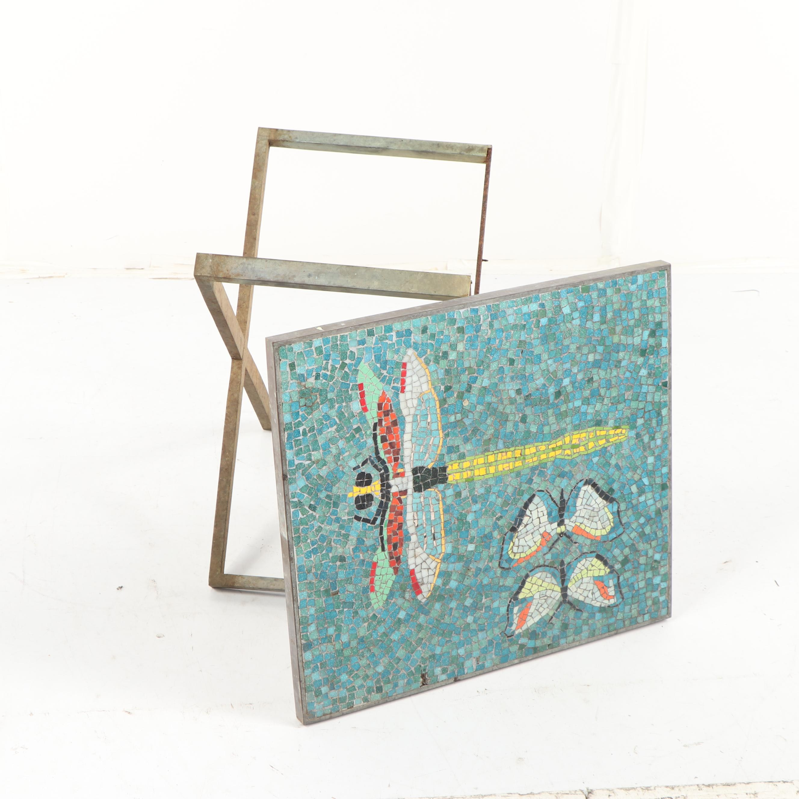 Dragonfly and Butterfly Mosaic Top X-Frame Base Side Table