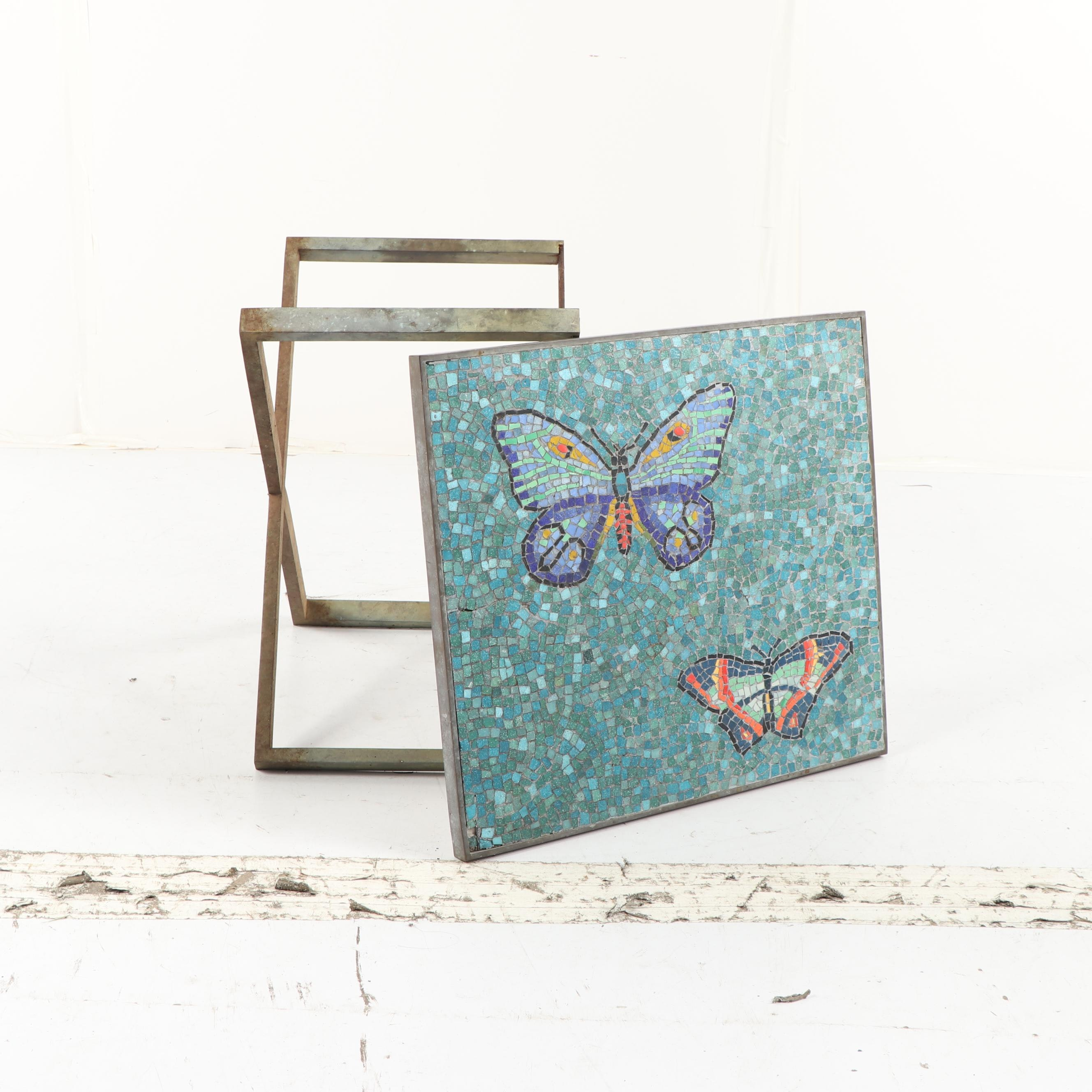 Butterfly Mosaic Top X-Frame Base Side Table