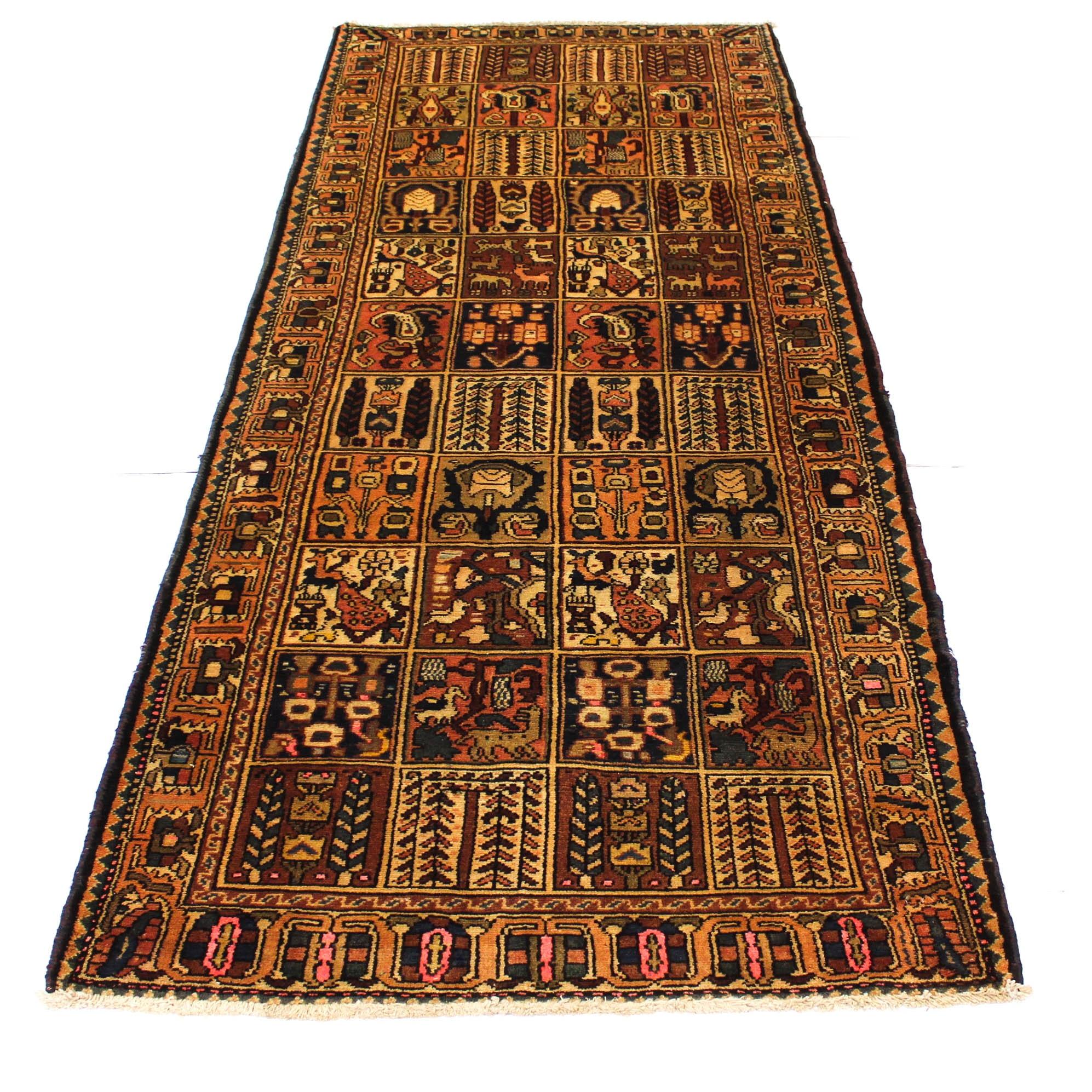 Vintage Hand-Knotted Persian Bakhtiari Rug