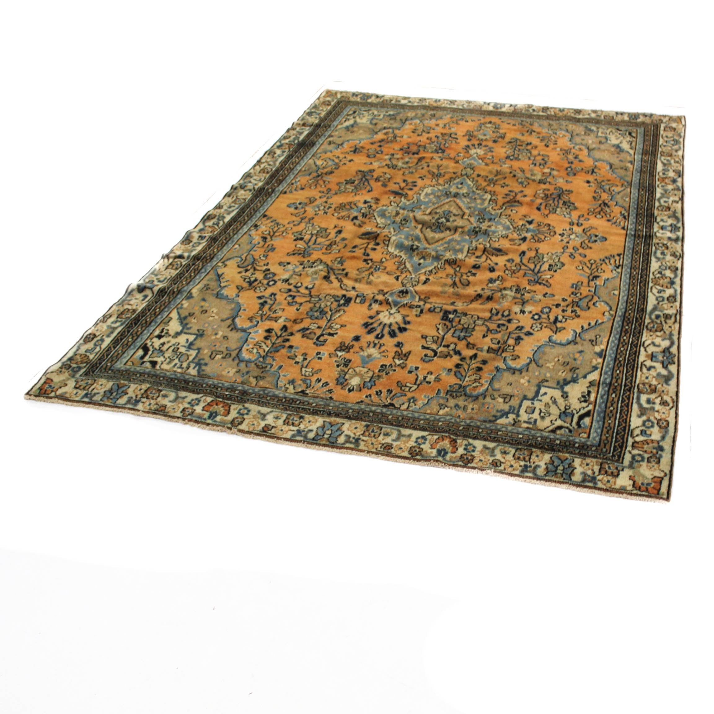 Semi-Antique Hand-Knotted Persian Malayer Sarouk Rug