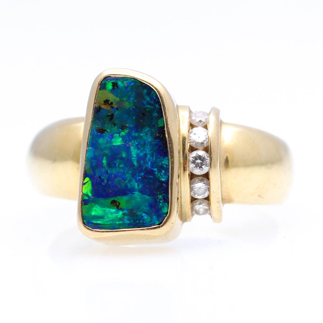18K Gold Boulder Opal and Diamond Ring