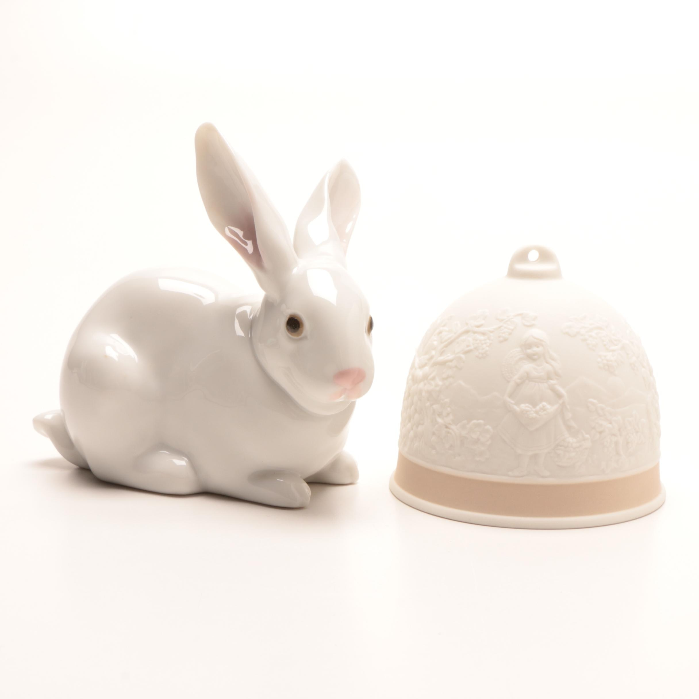 """Lladró """"Attentive Bunny"""" Porcelain Figurine and """"Fall"""" Bell"""