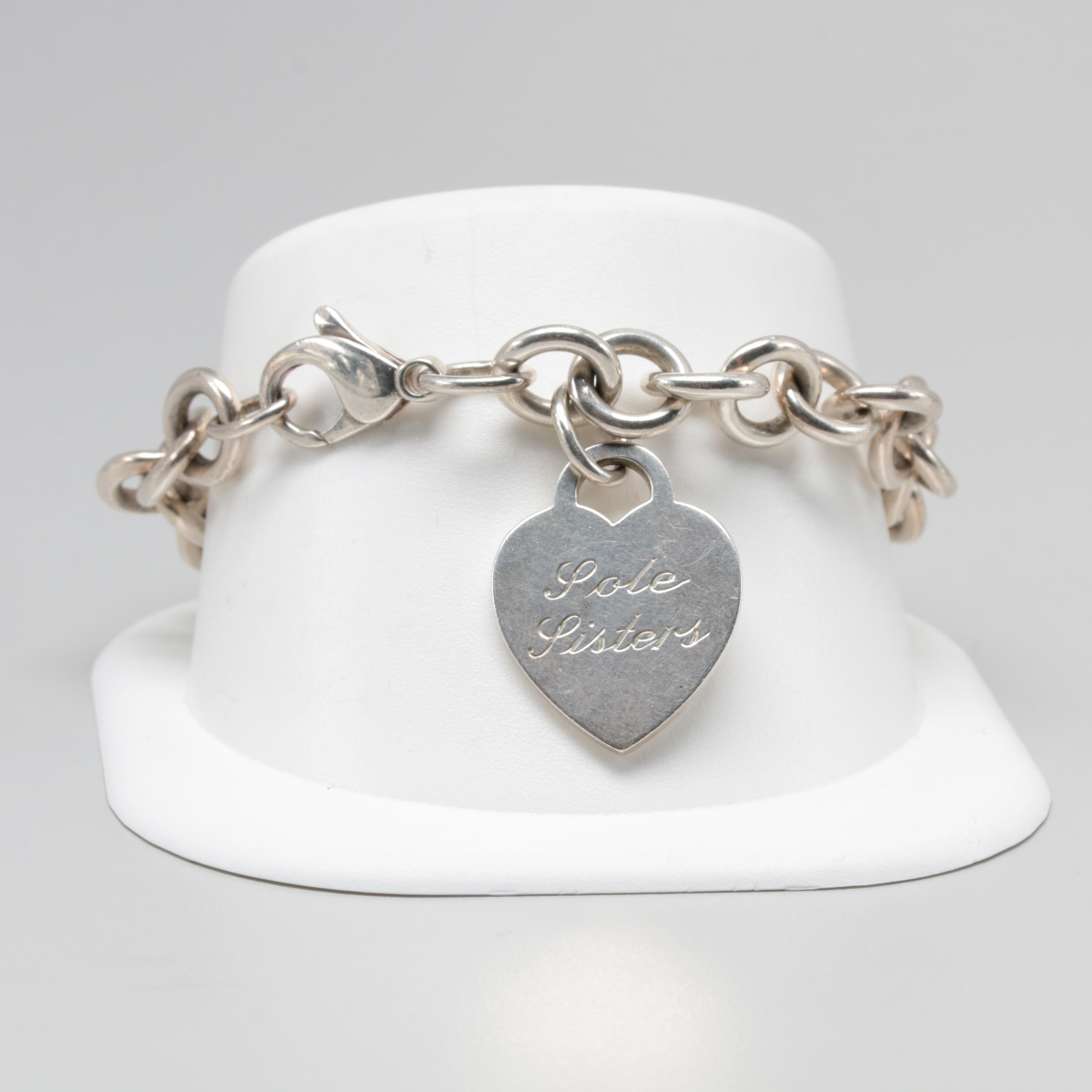 "Tiffany & Co. Sterling Silver ""Sole Sisters"" Tag Bracelet"