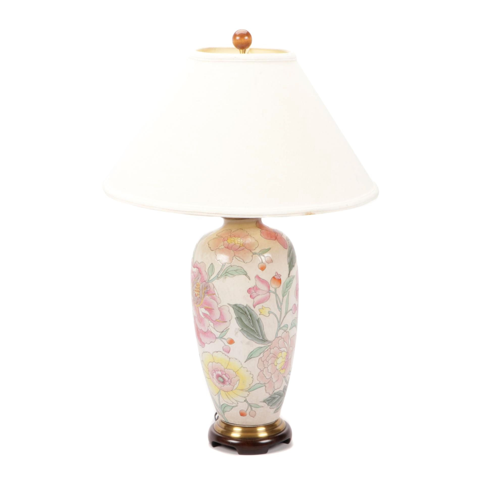 Painted Ceramic Table Lamp with Shade