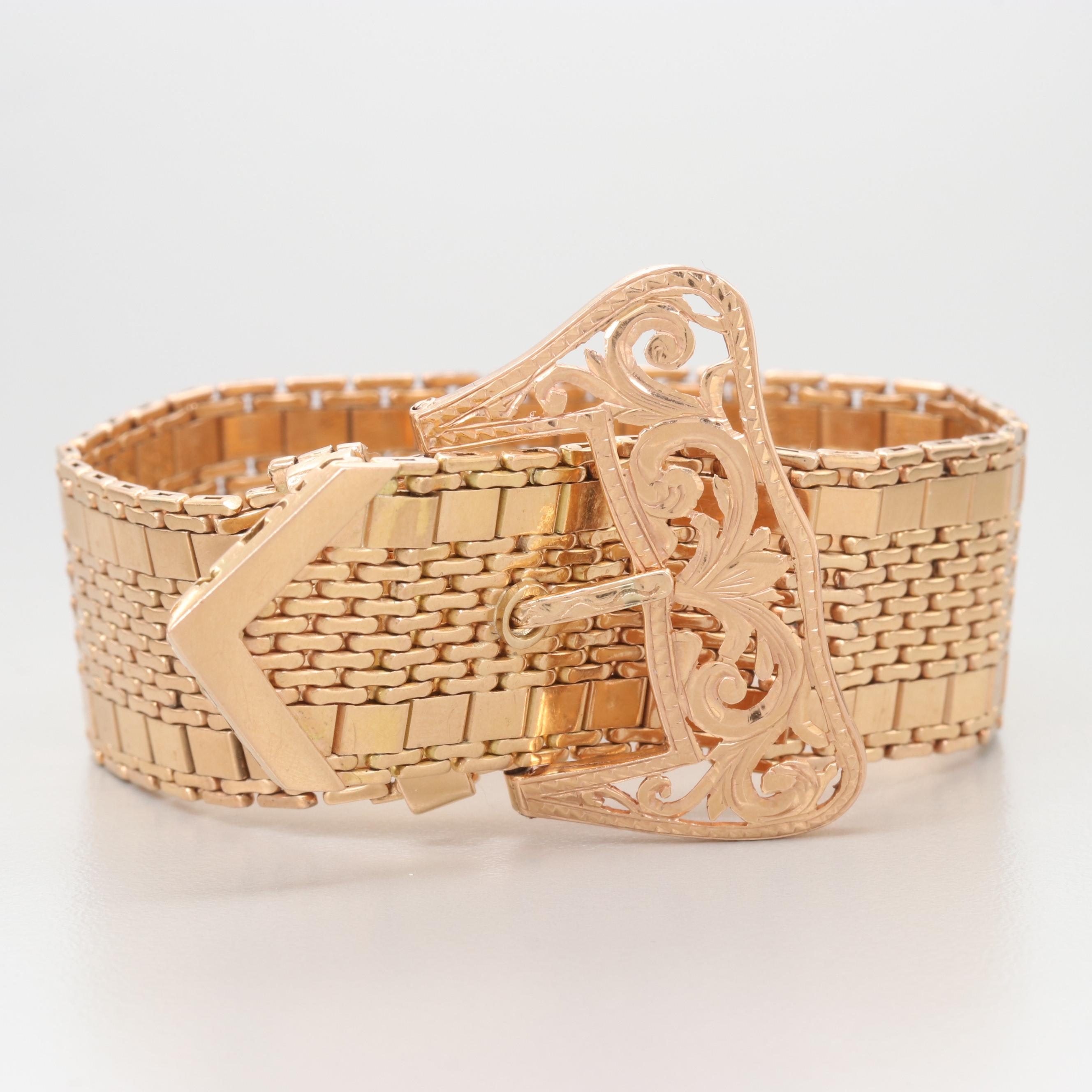 Vintage 14K Yellow Gold Articulated Jarretiére Bracelet with Buckle Fastener