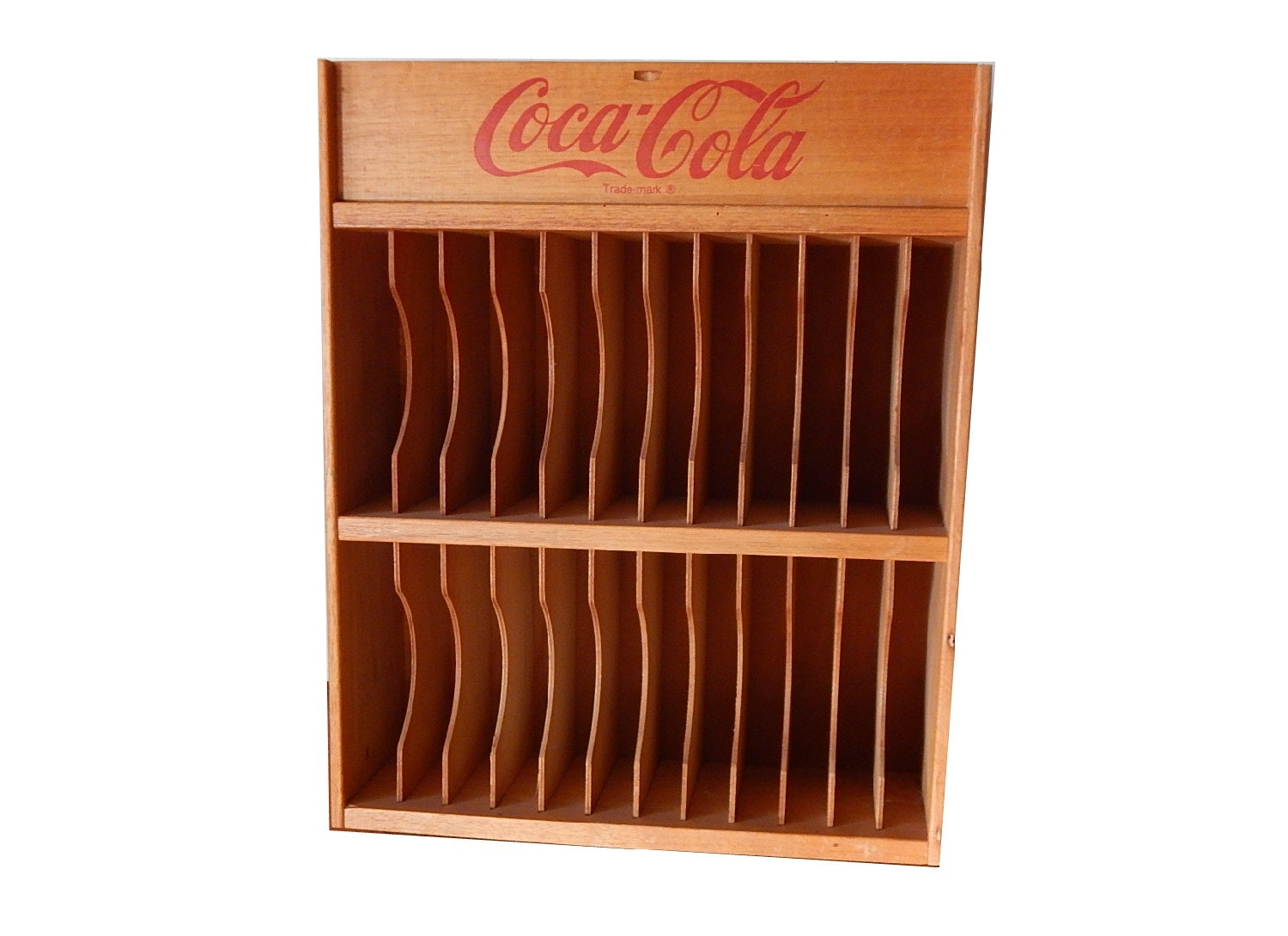 Vintage Coca Cola Wood Storage Wall Shelf
